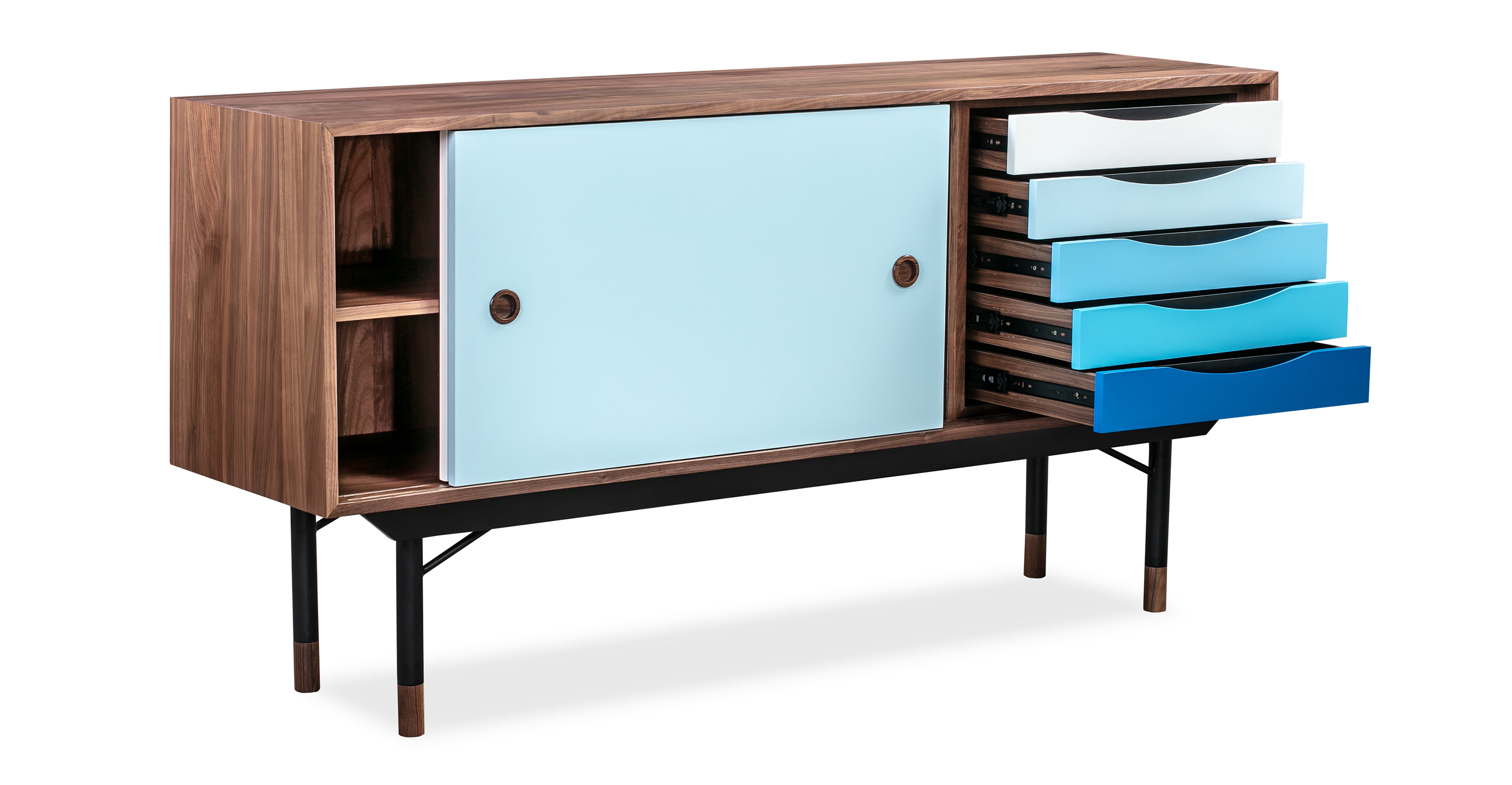 """Color Theory 69"""" Sideboard, Walnut/Blue"""
