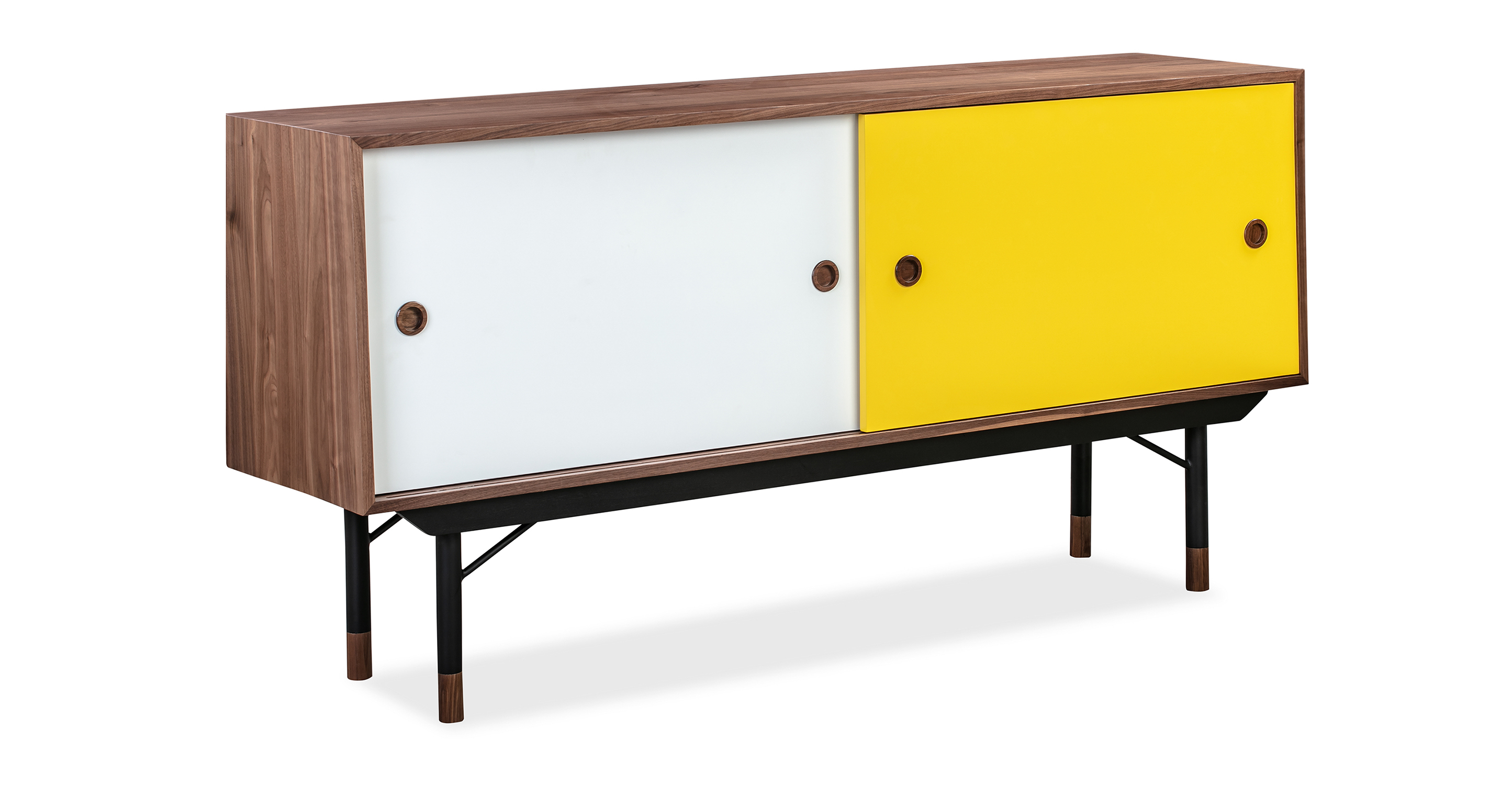 "Color Theory 69"" Sideboard, Walnut/Yellow"