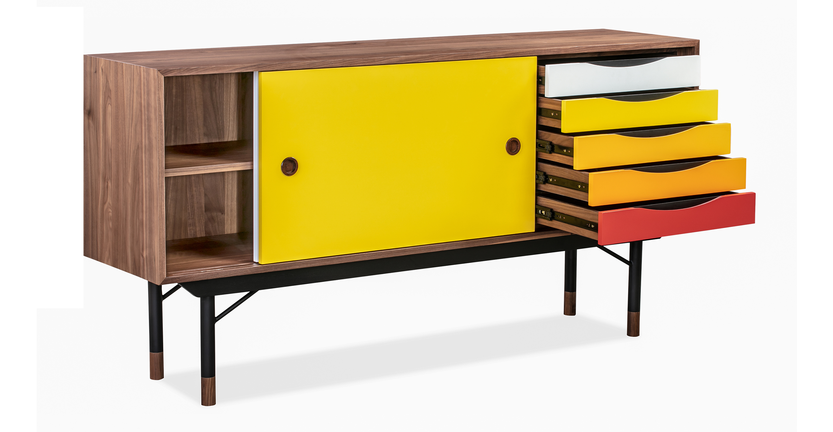 """Color Theory 69"""" Sideboard, Walnut/Yellow"""