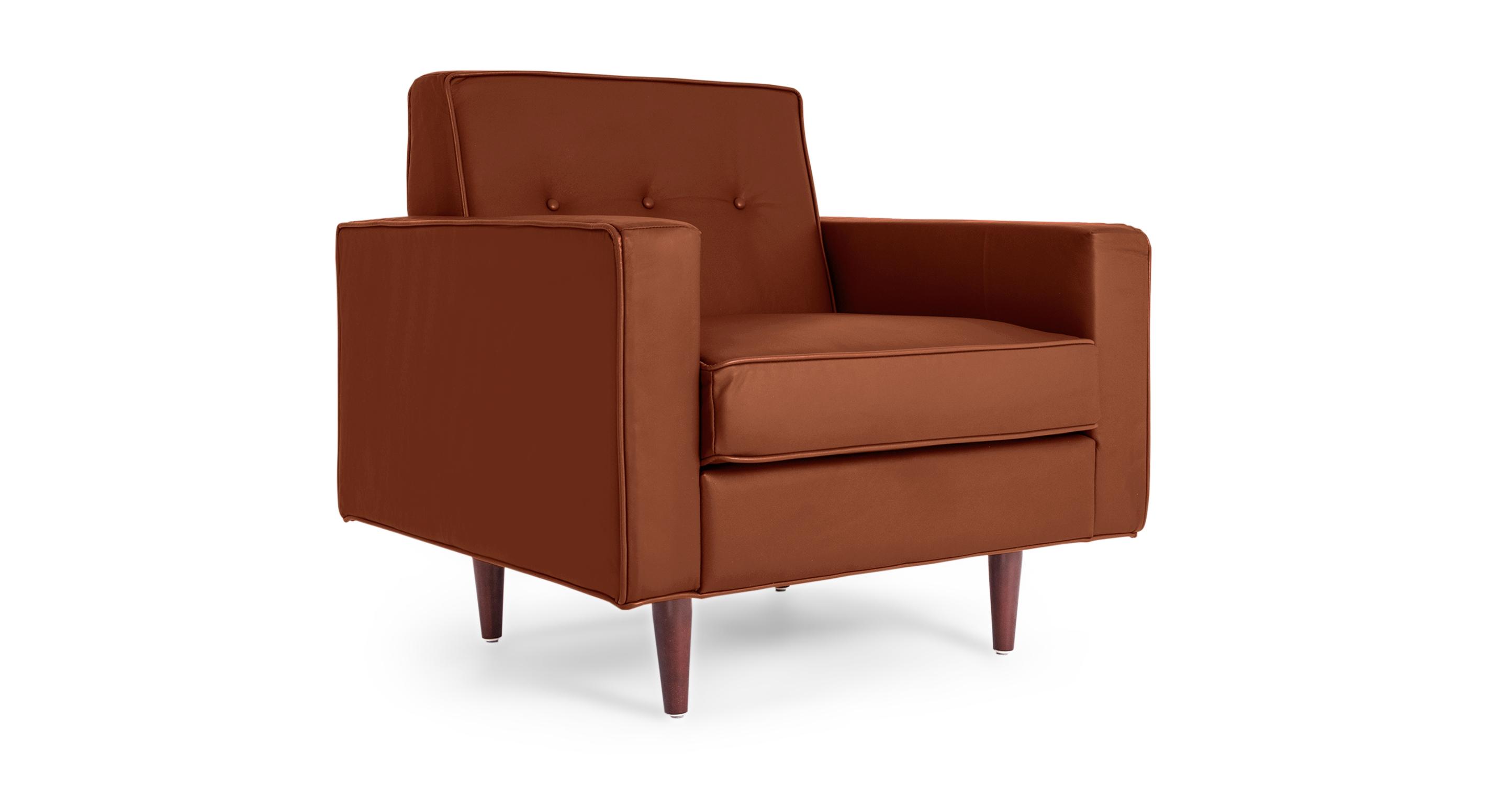 "Eleanor 36"" Leather Chair, Chestnut Aniline"