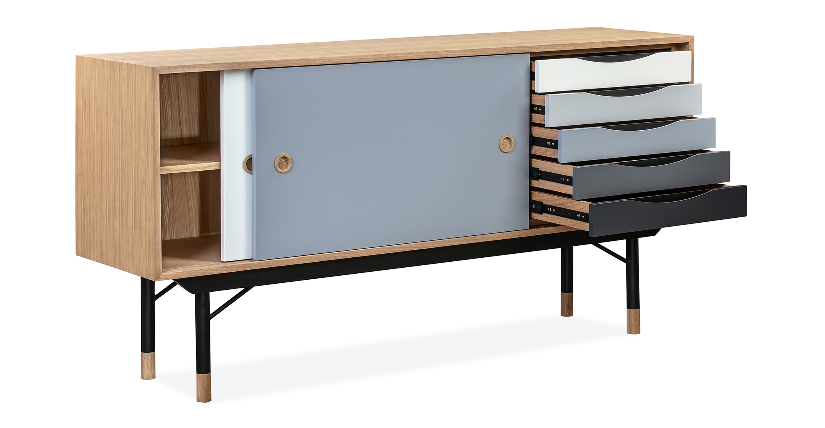 "Color Theory 69"" Sideboard, Natural/Grey"