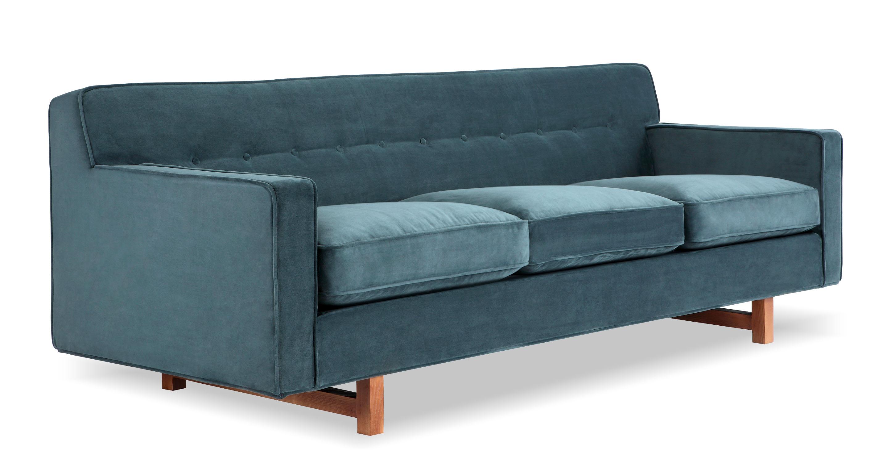 """Kennedy 86"""" Fabric Sofa, Neptune Velvet"""
