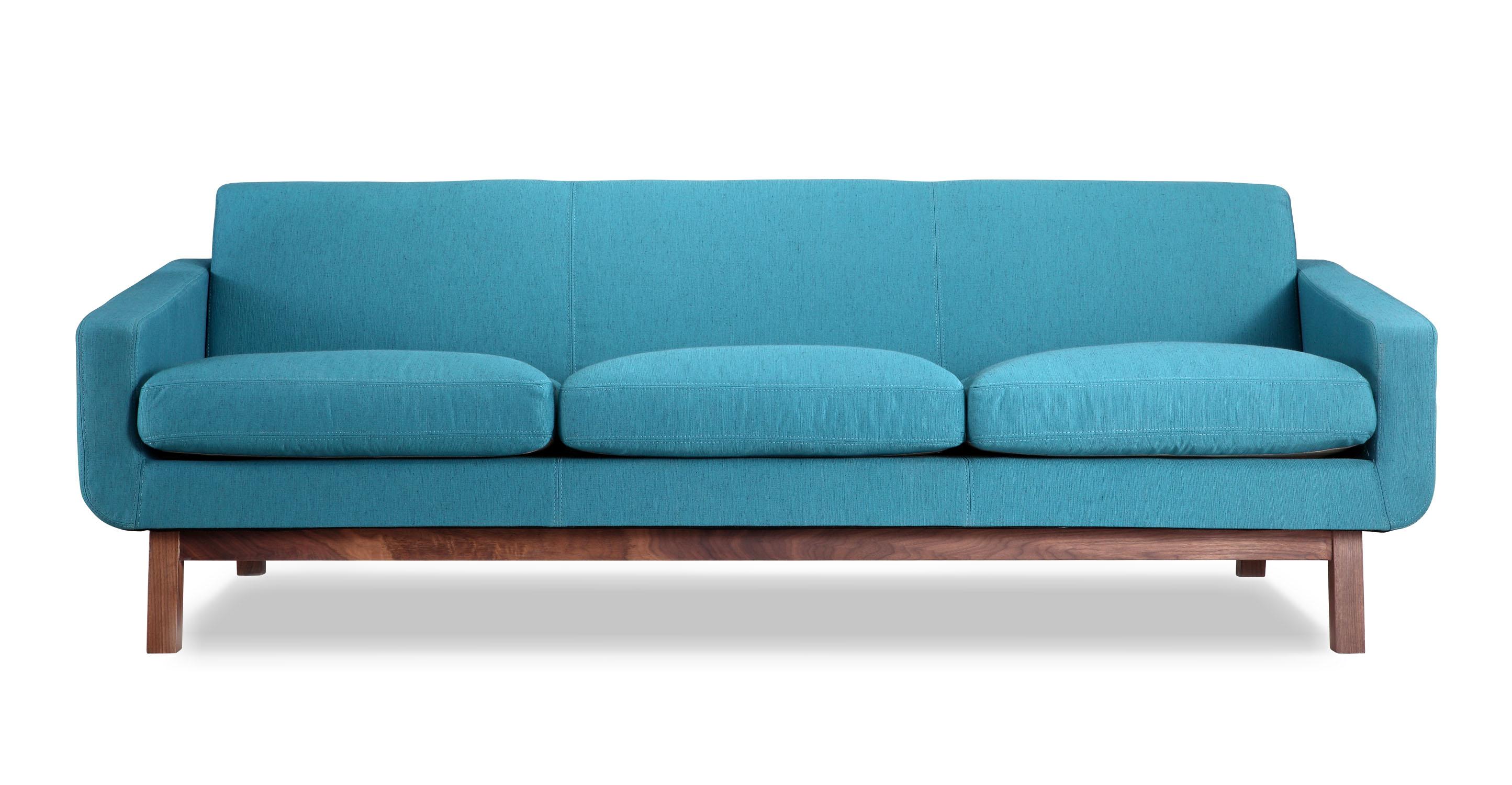 "Platform 80"" Fabric Sofa, Walnut/Urban Surf"