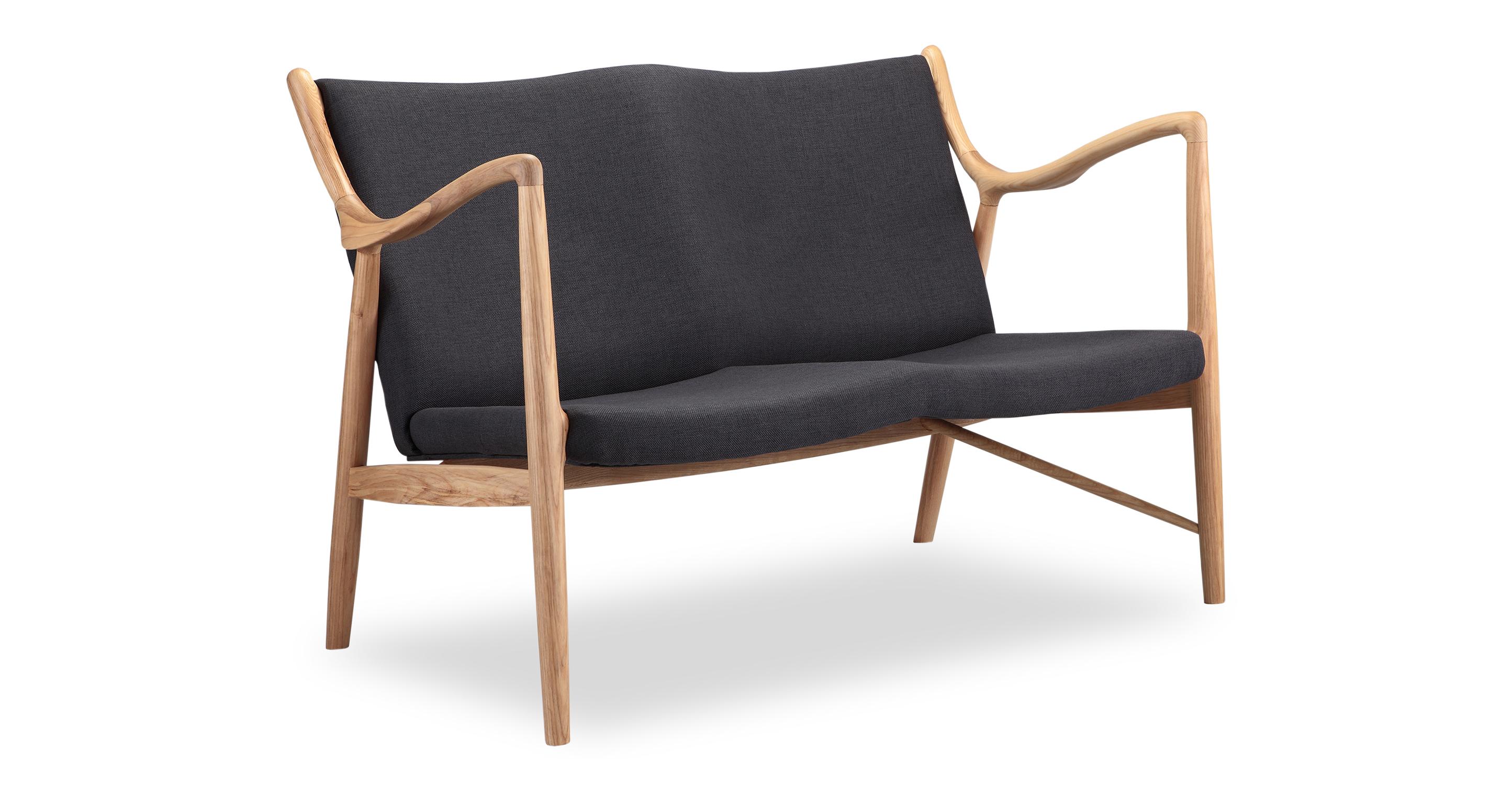 "Copenhagen 47"" Fabric Sofa, Natural/Urban Ink"