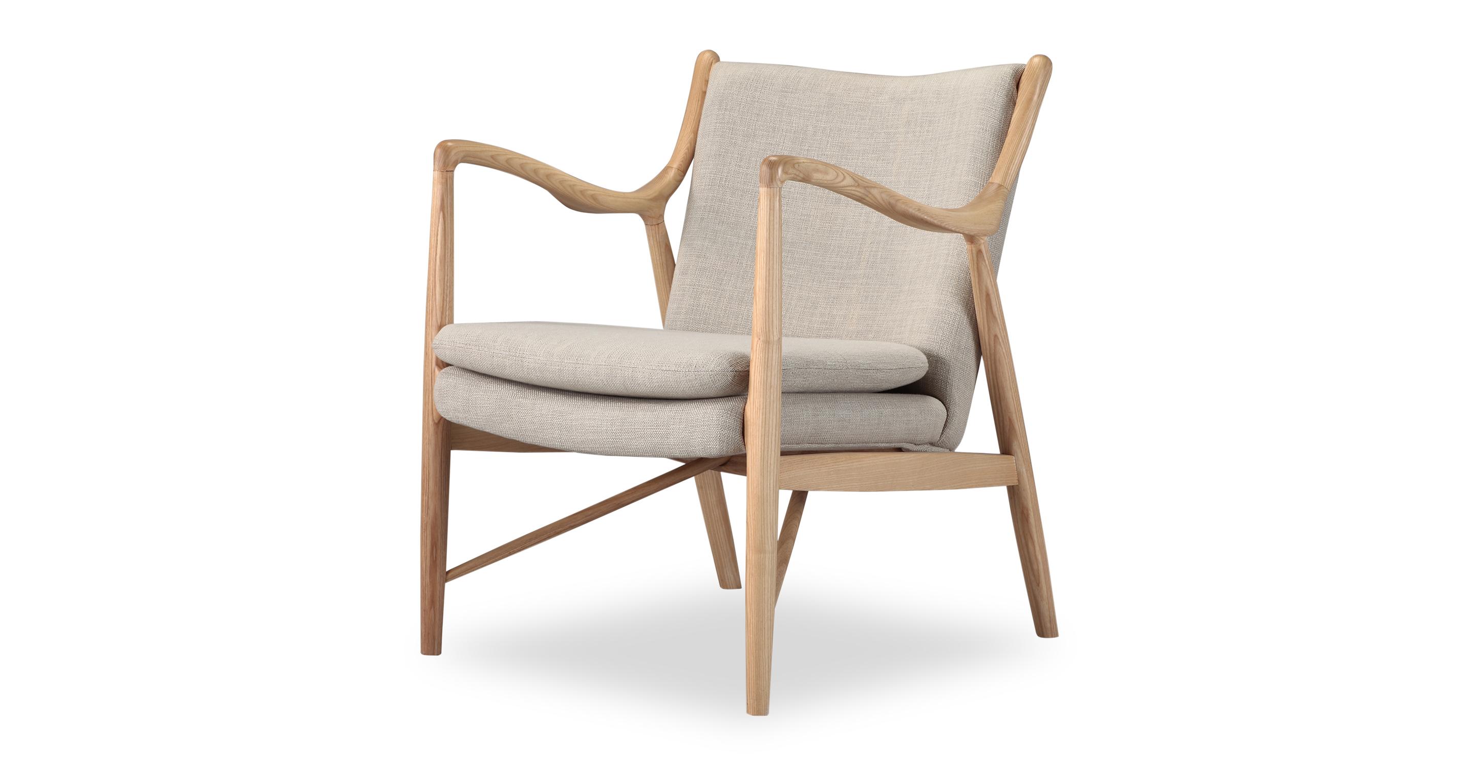 """Copenhagen 26"""" Fabric Armchair, Natural/Urban Hemp"""