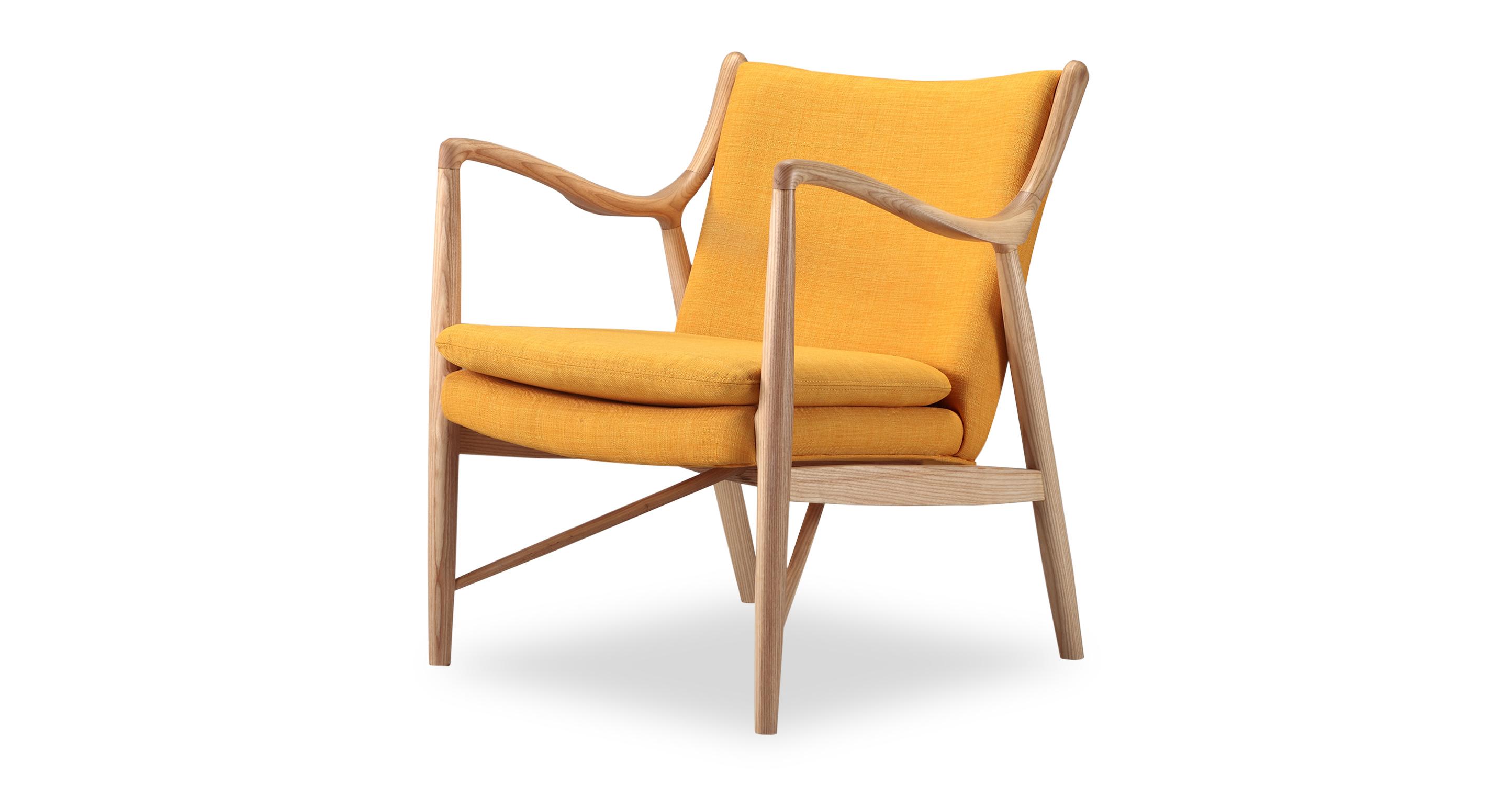 "Copenhagen 26"" Fabric Armchair, Natural/Citrine"