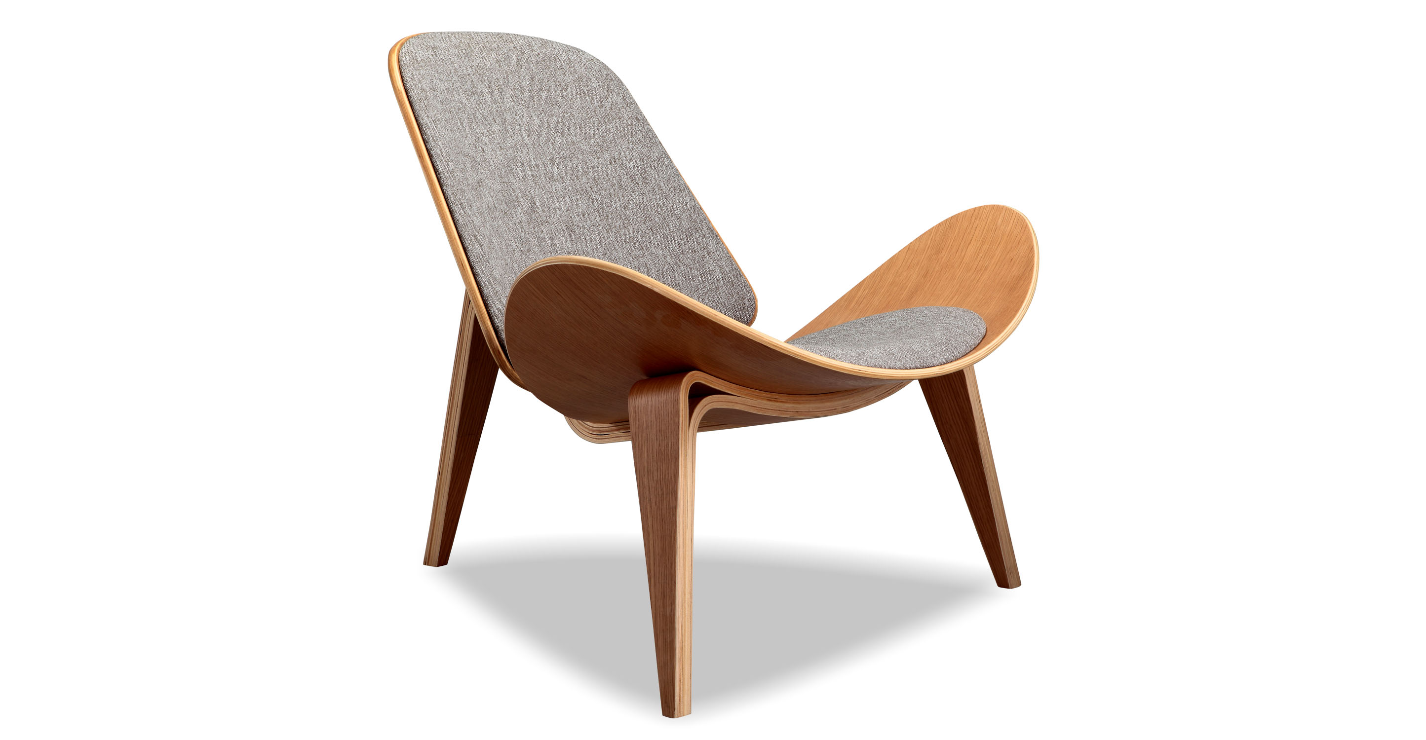 "Tripod 36"" Fabric Chair, Oak/Urban Pebble"