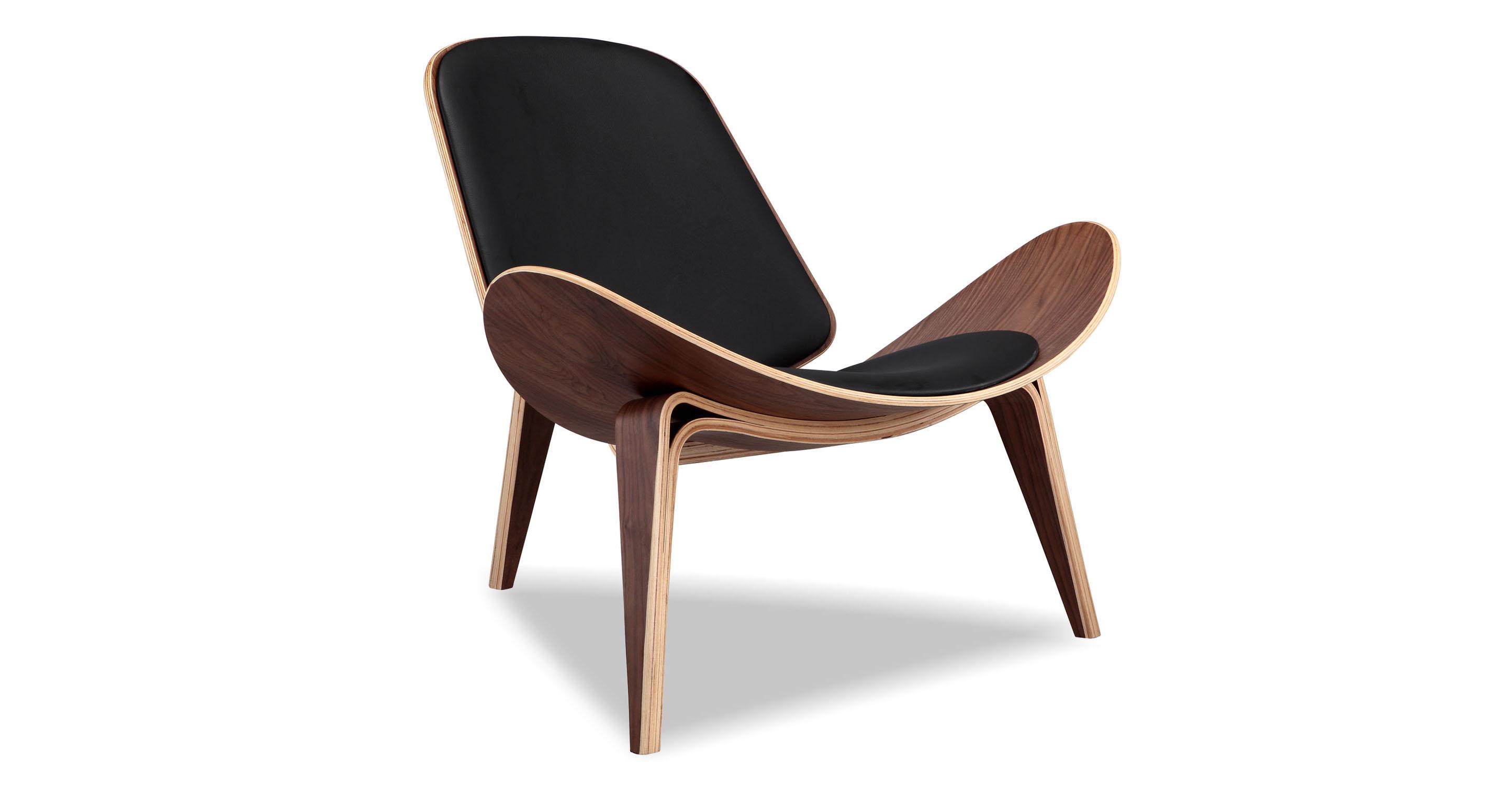"""Tripod 36"""" Leather Chair, Walnut/Black Italian"""