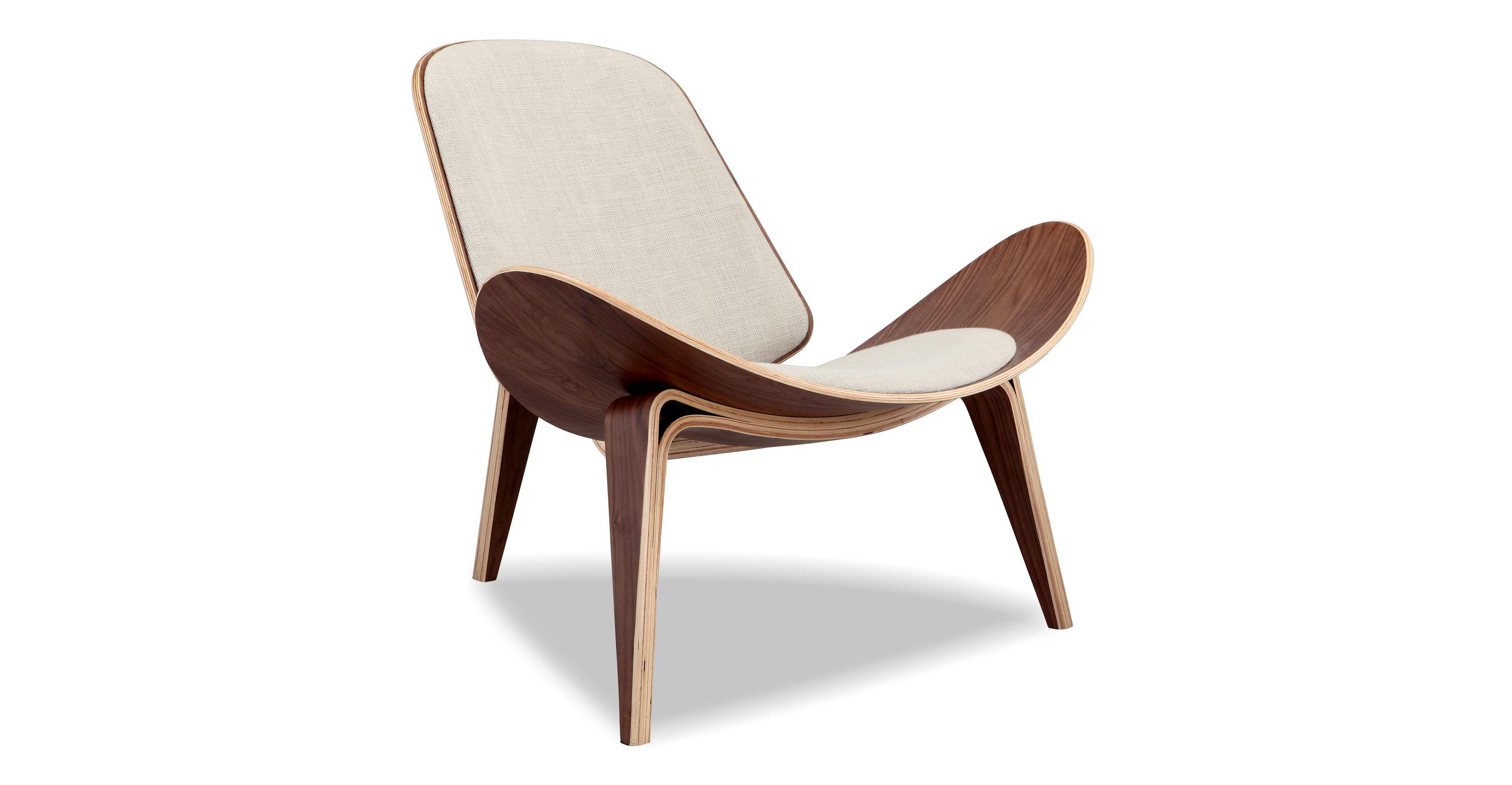 """Tripod 36"""" Fabric Chair, Walnut/Urban Hemp"""