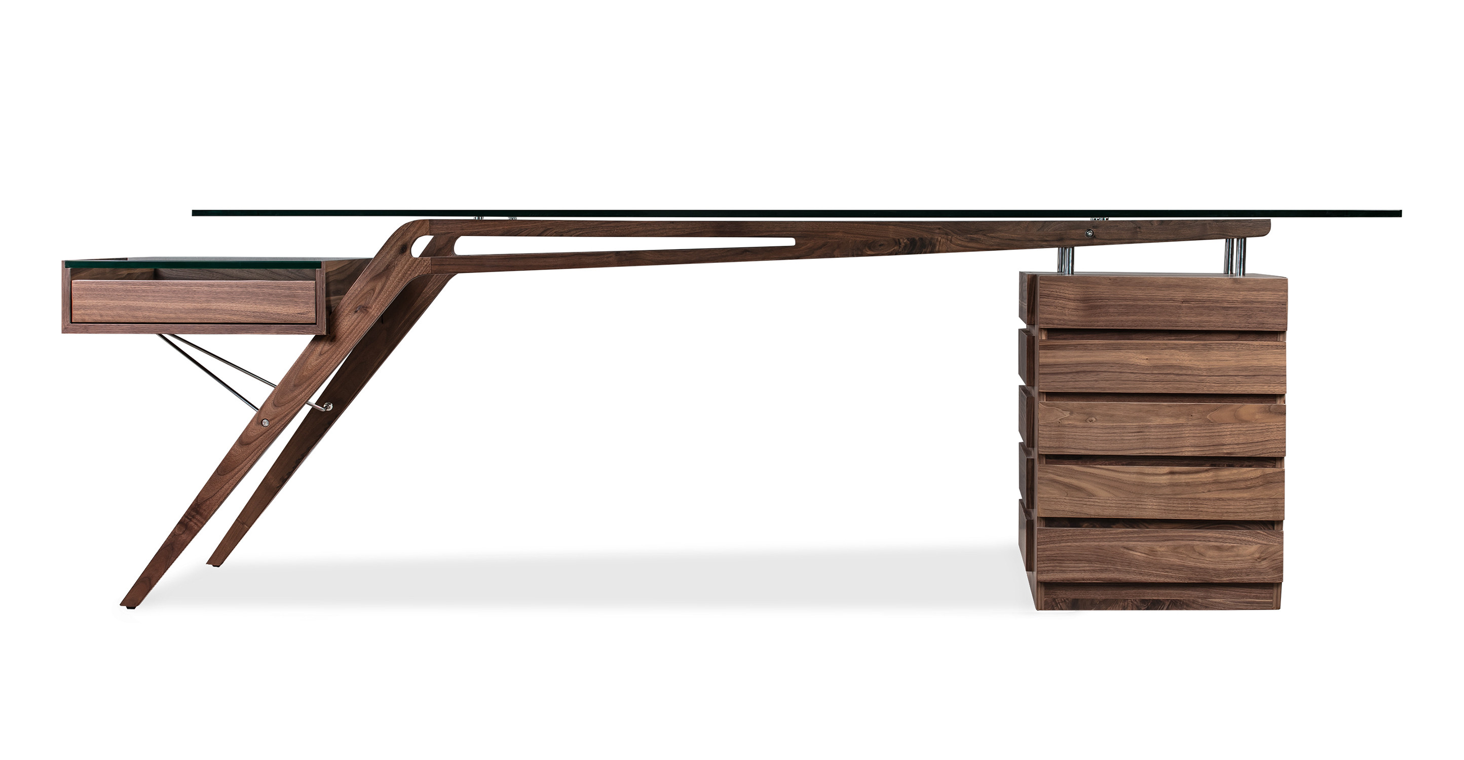 "1949 Protractor 98"" Desk, Walnut"