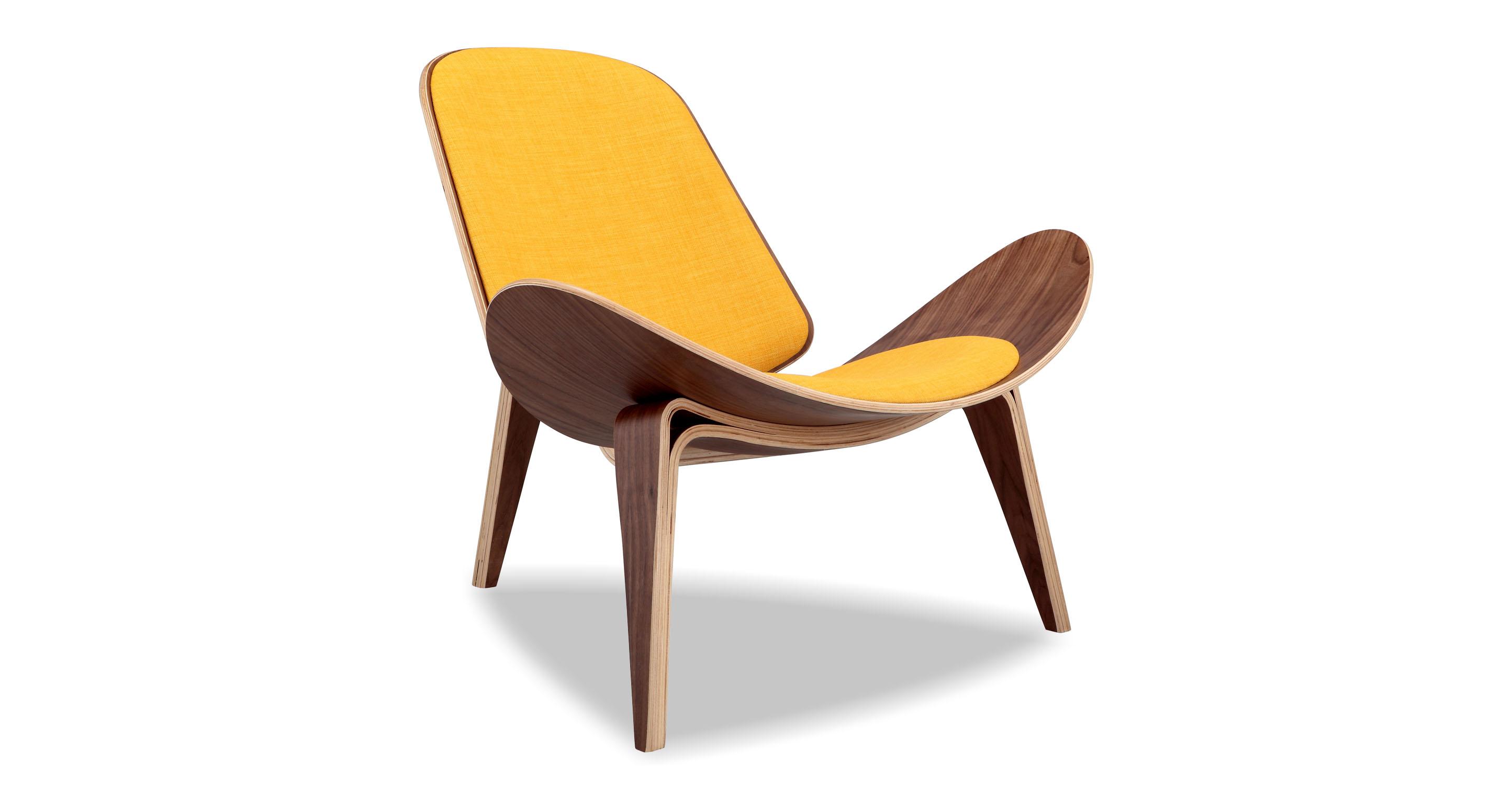 "Tripod 36"" Fabric Chair, Walnut/Citrine"