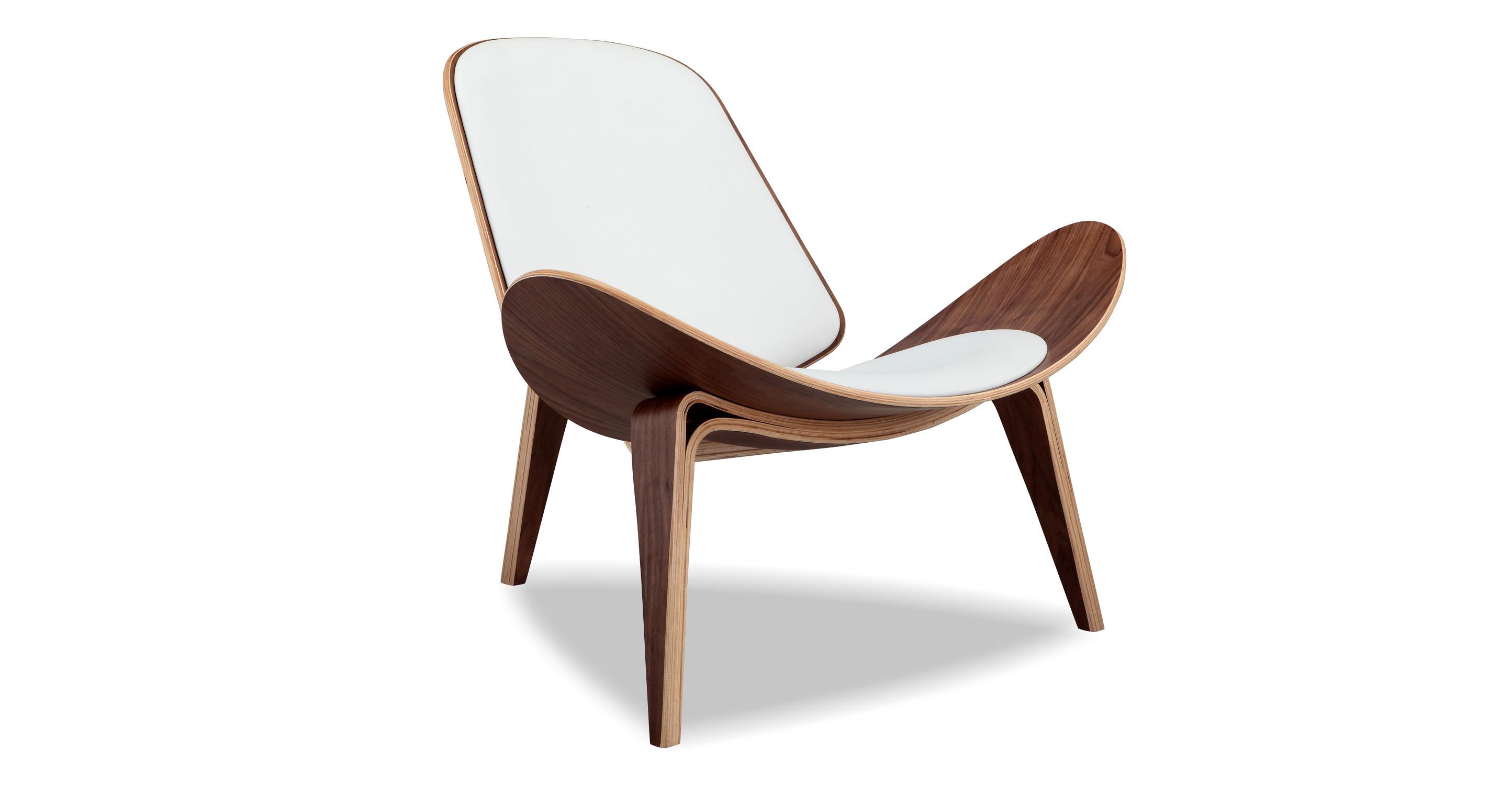 "Tripod 36"" Leather Chair, Walnut/White Italian"