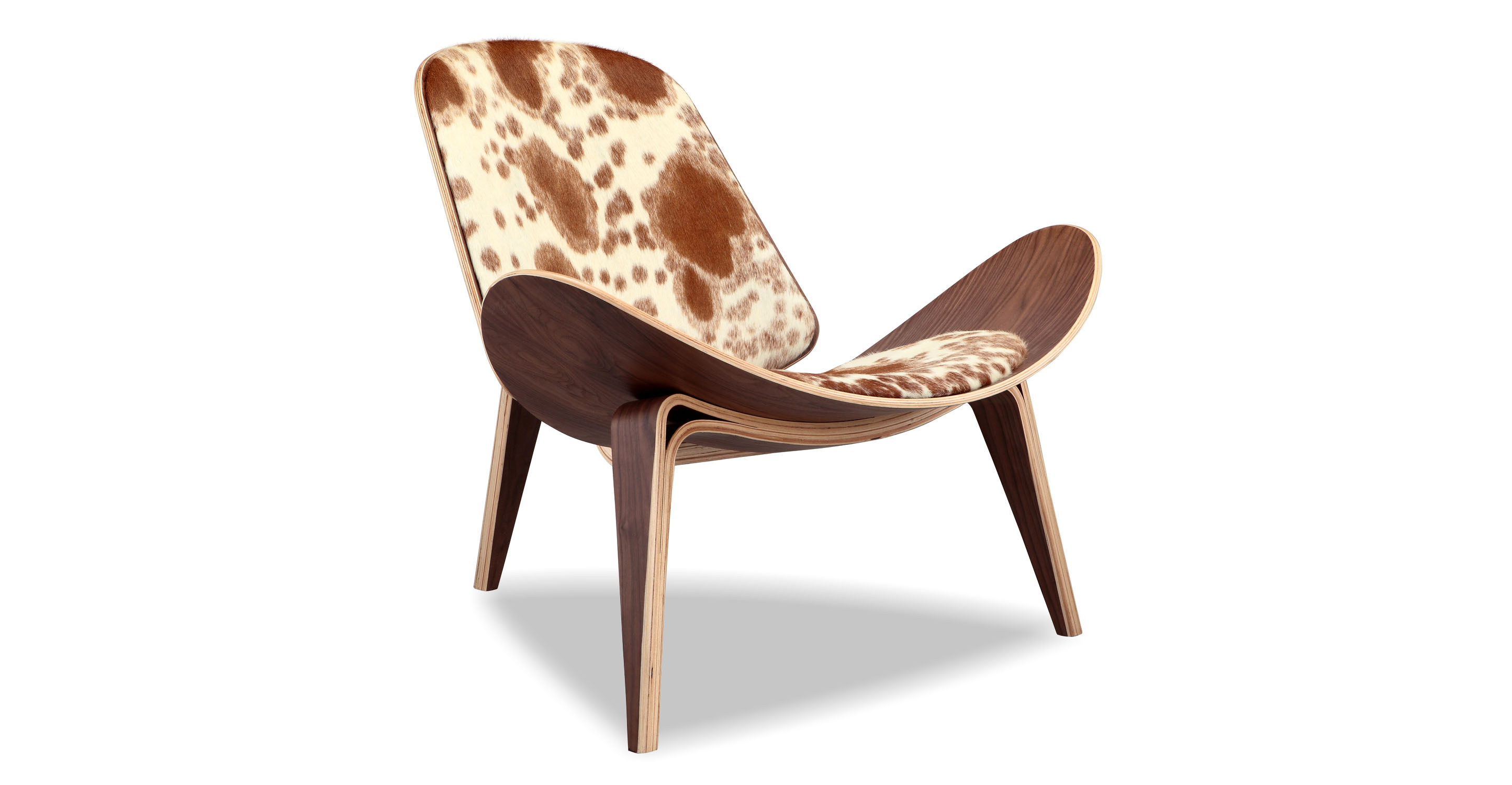 "Tripod 36"" Leather Chair, Walnut/Brown & White Cowhide"