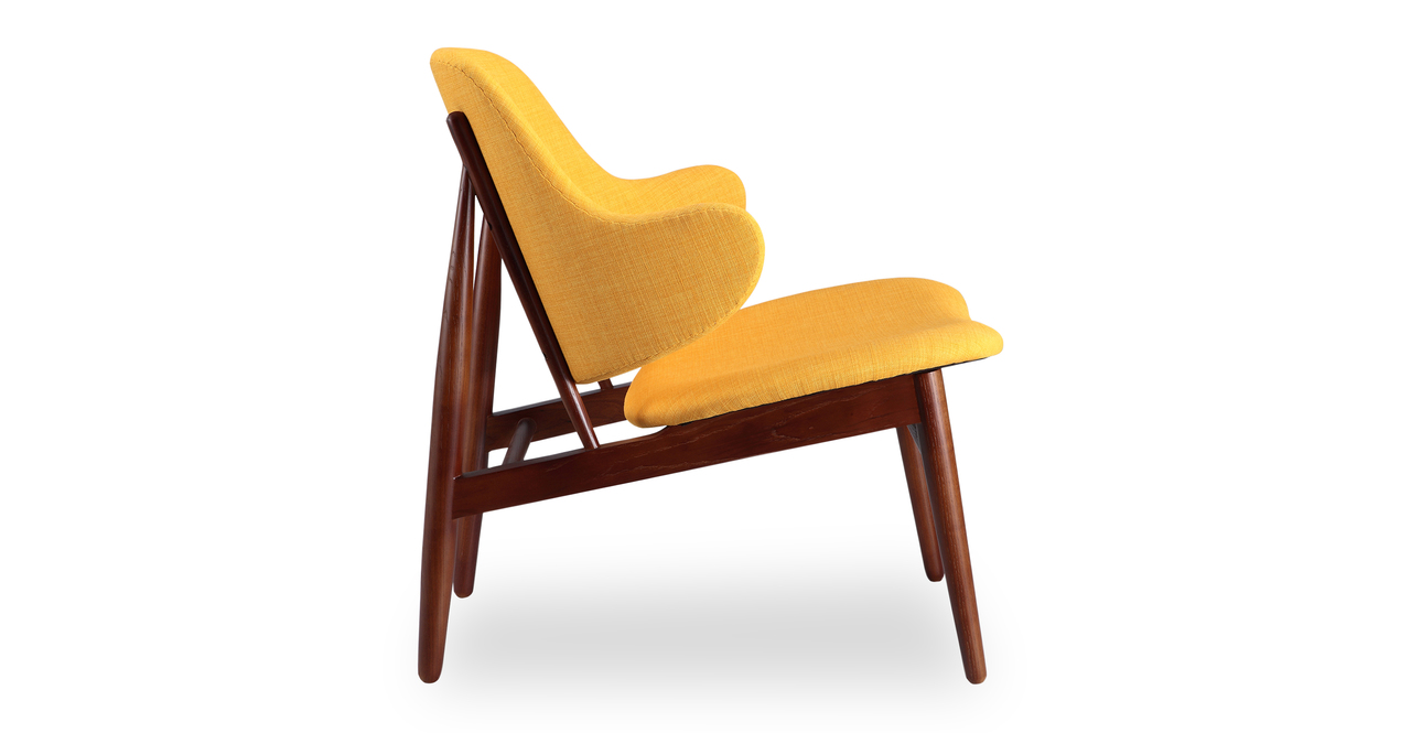 Larsen Shell Chair, Citrine/Walnut Stain