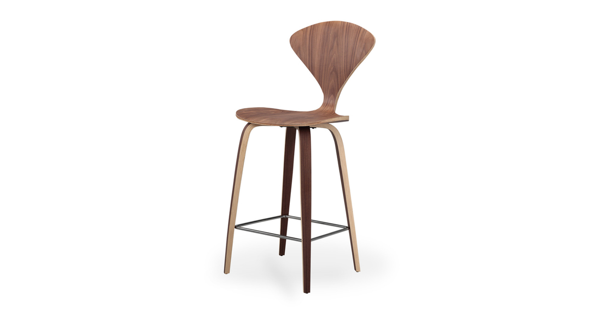 "Manta 40"" Bar Stool 2-pc Set, Walnut"