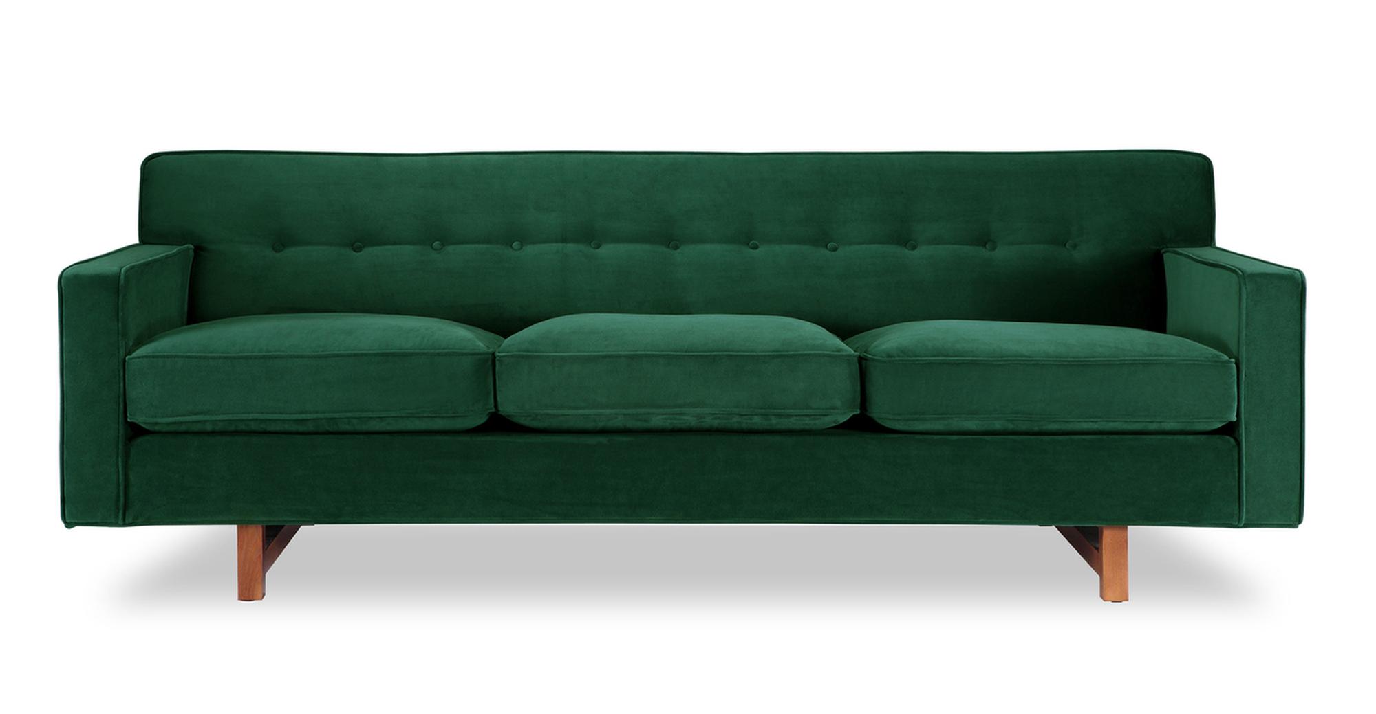 """Kennedy 86"""" Fabric Sofa, Jade Velvet"""