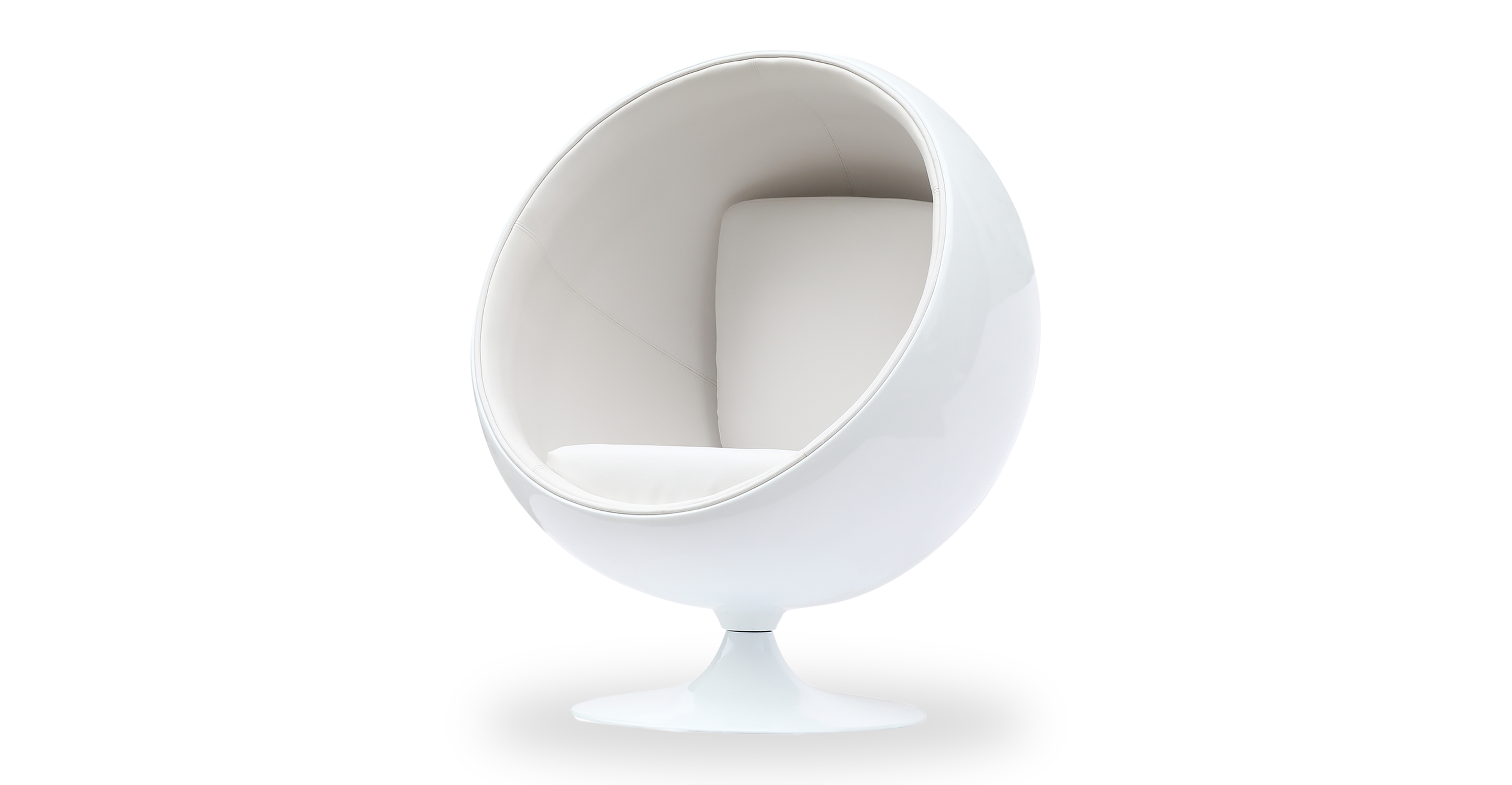Ball Leather Chair, White/White Leatherette