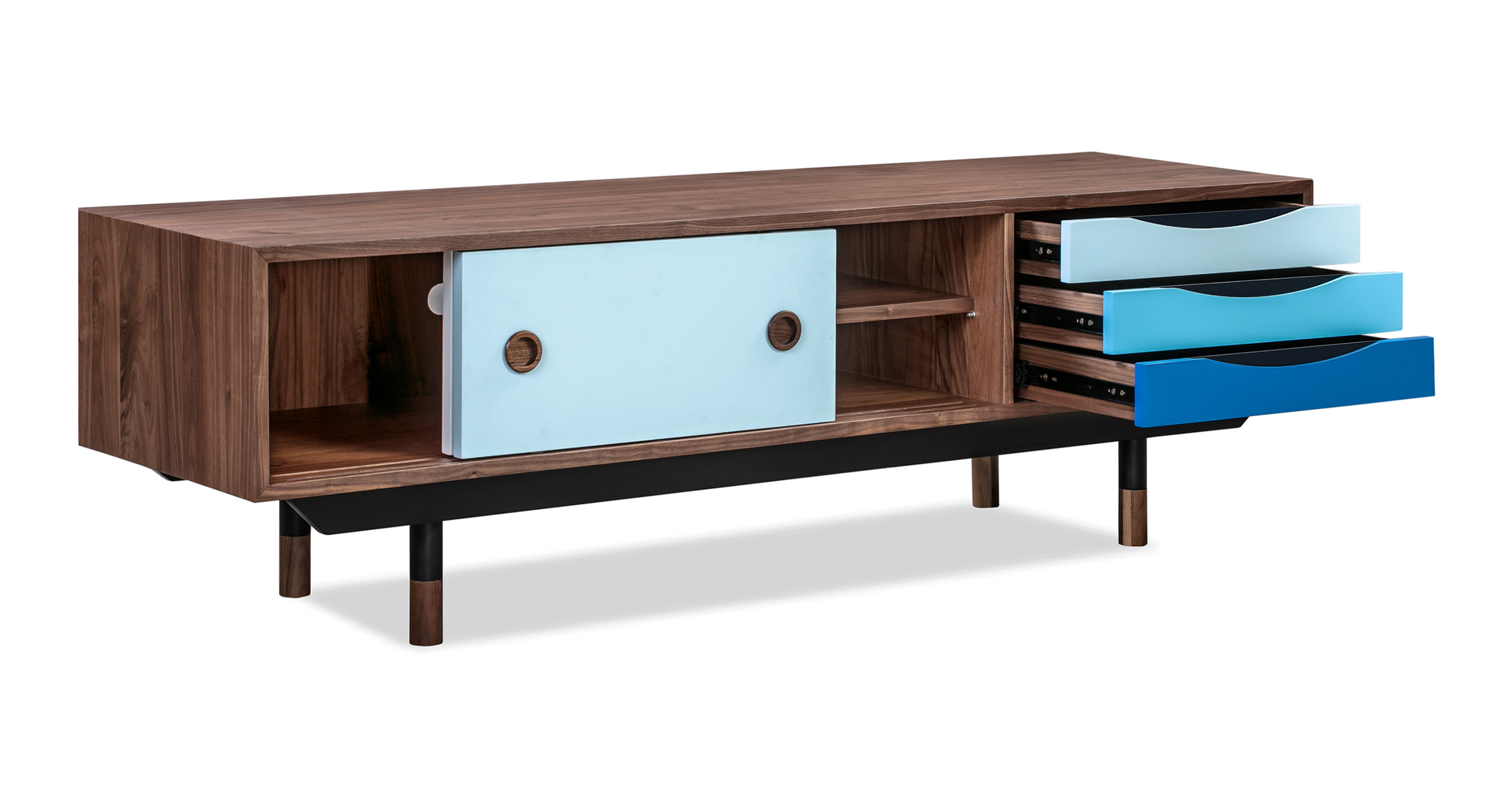 "Color Theory 63"" Media Cabinet, Walnut/Blue"