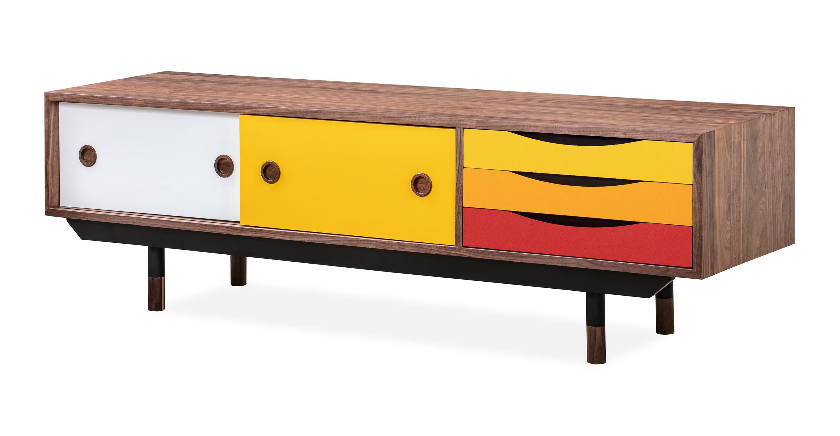 Color Theory 63 Media Cabinet Walnut Yellow Kardiel