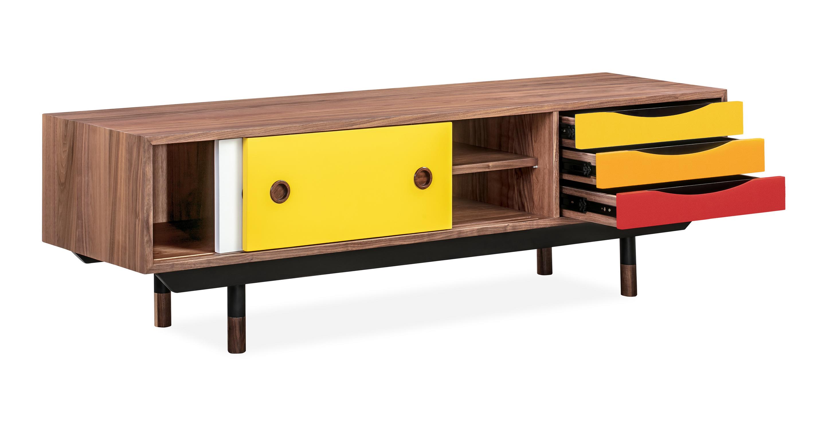 "Color Theory 63"" Media Cabinet, Walnut/Yellow"