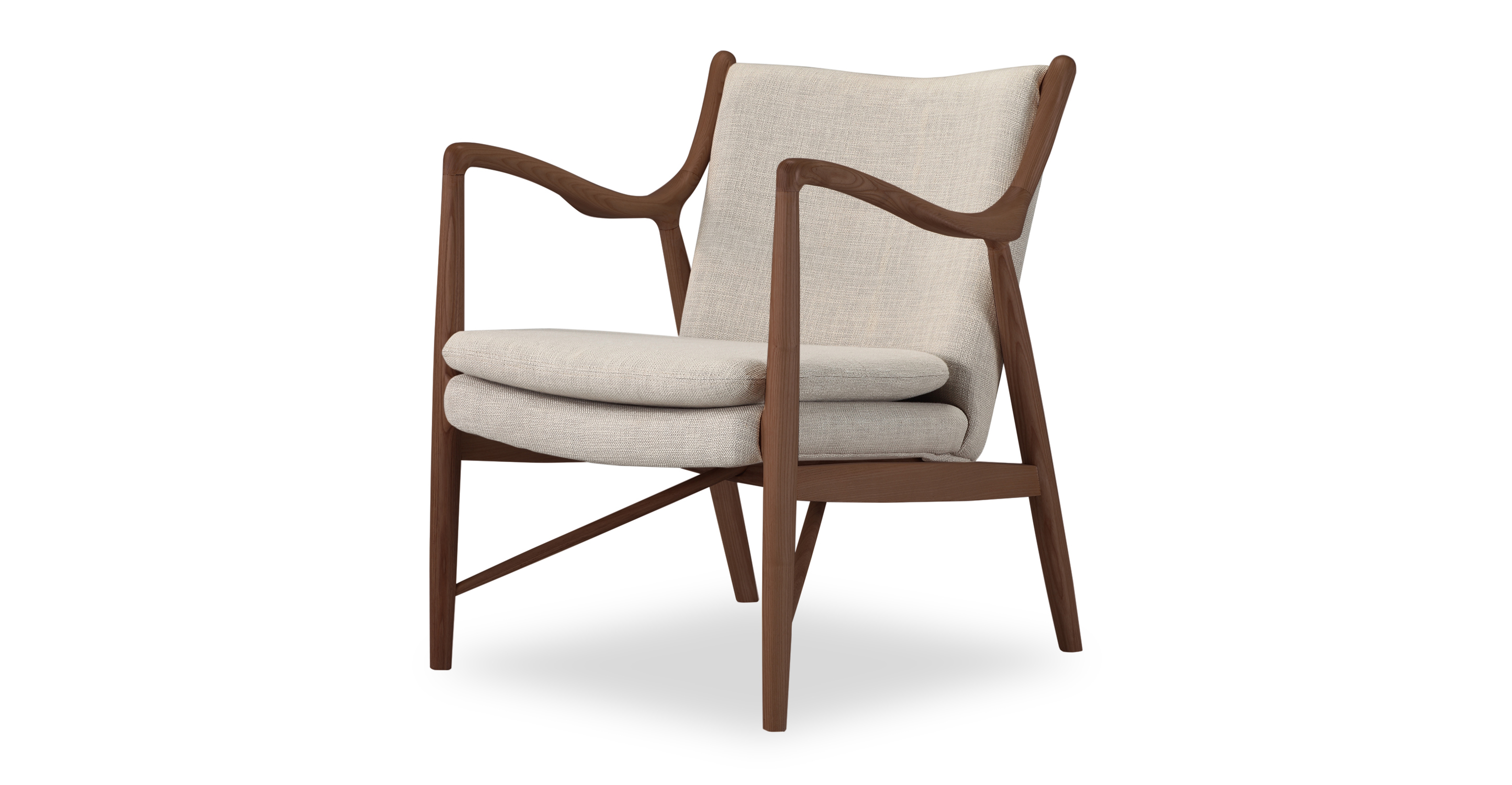 "Copenhagen 26"" Fabric Armchair, Walnut/Urban Hemp"