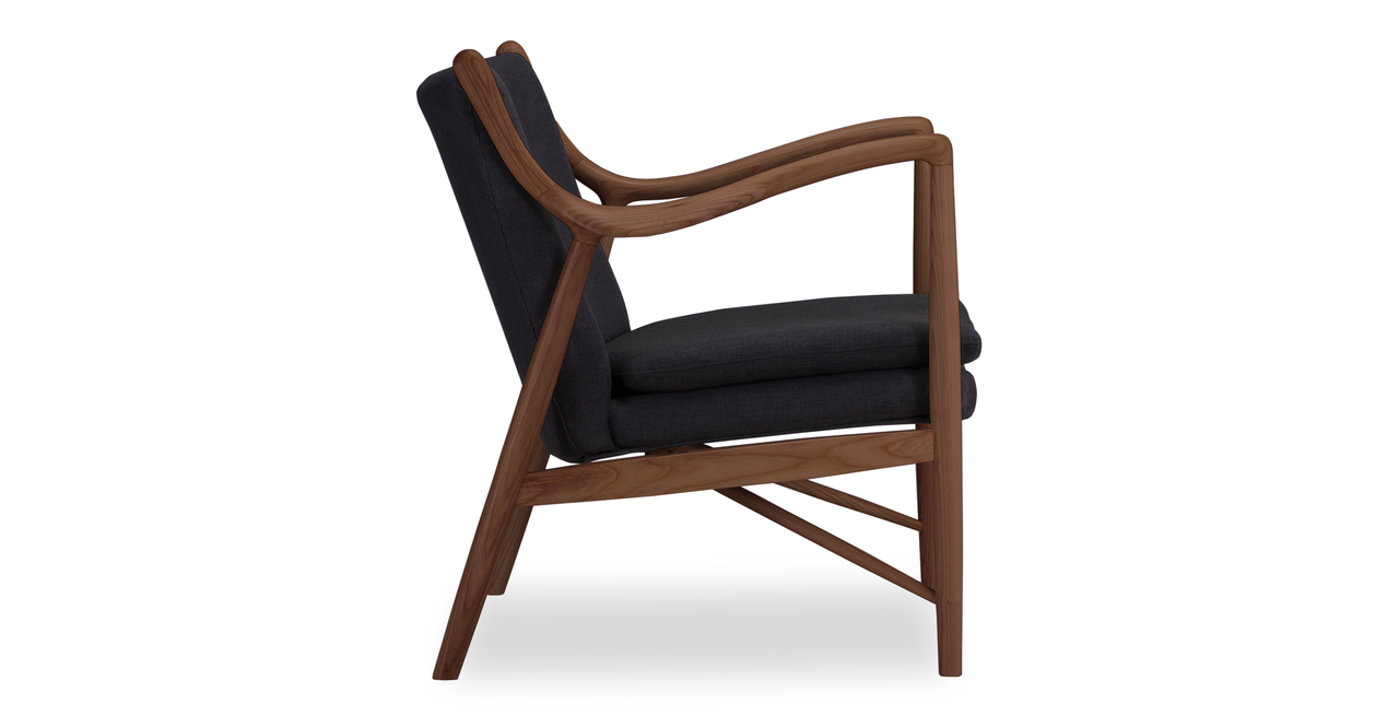 "Copenhagen 26"" Armchair, Urban Ink/Walnut"