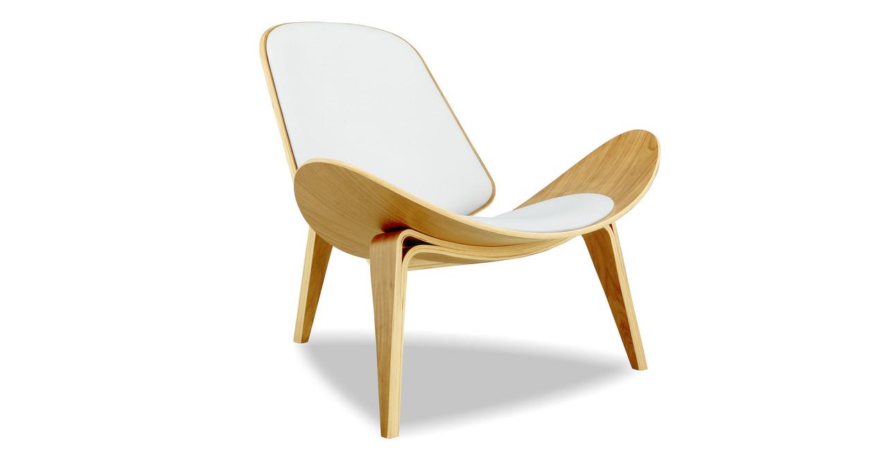 "Tripod 36"" Leather Chair, Oak/White Italian"