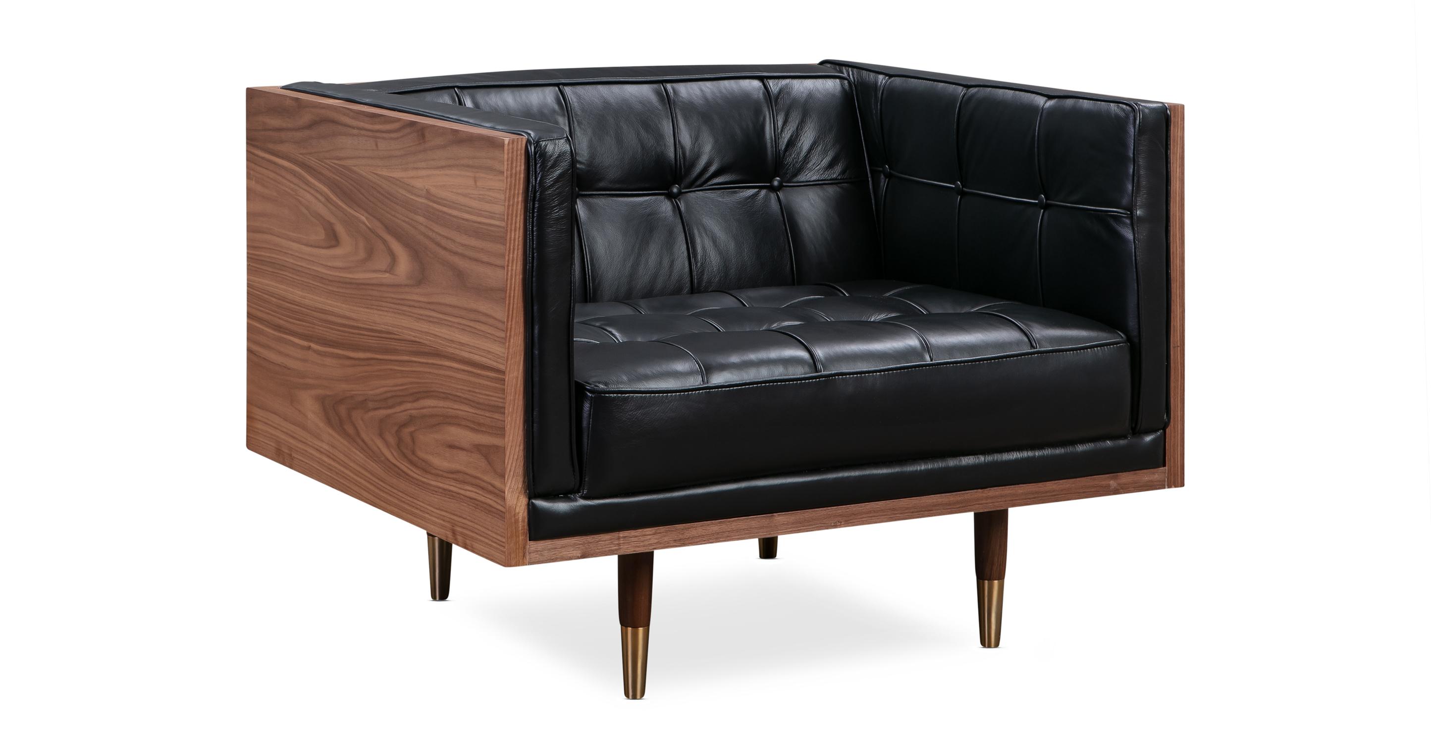 Woodrow Box Leather Chair, Walnut/Black Aniline