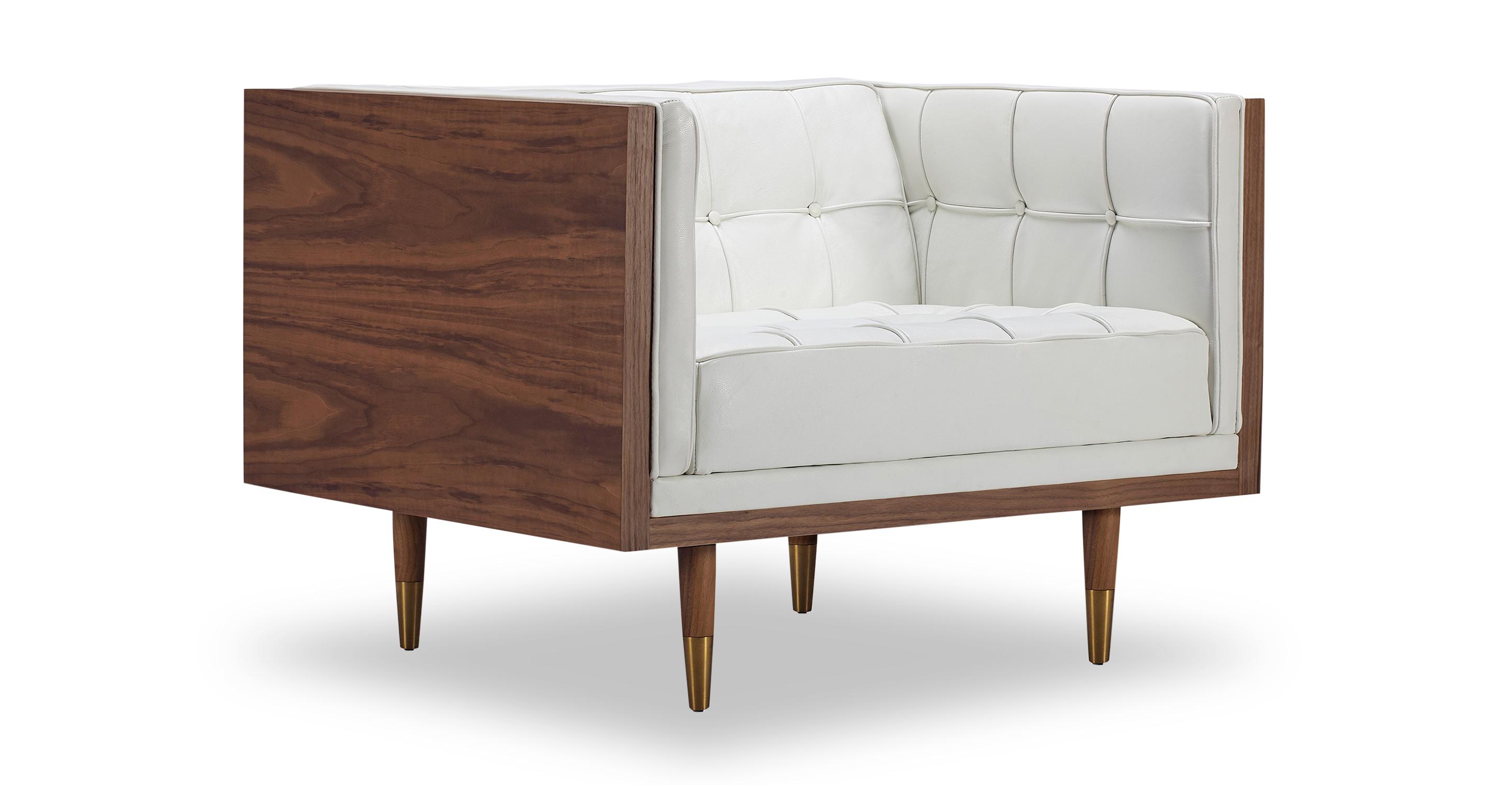 Woodrow Box Leather Chair, Walnut/White Aniline