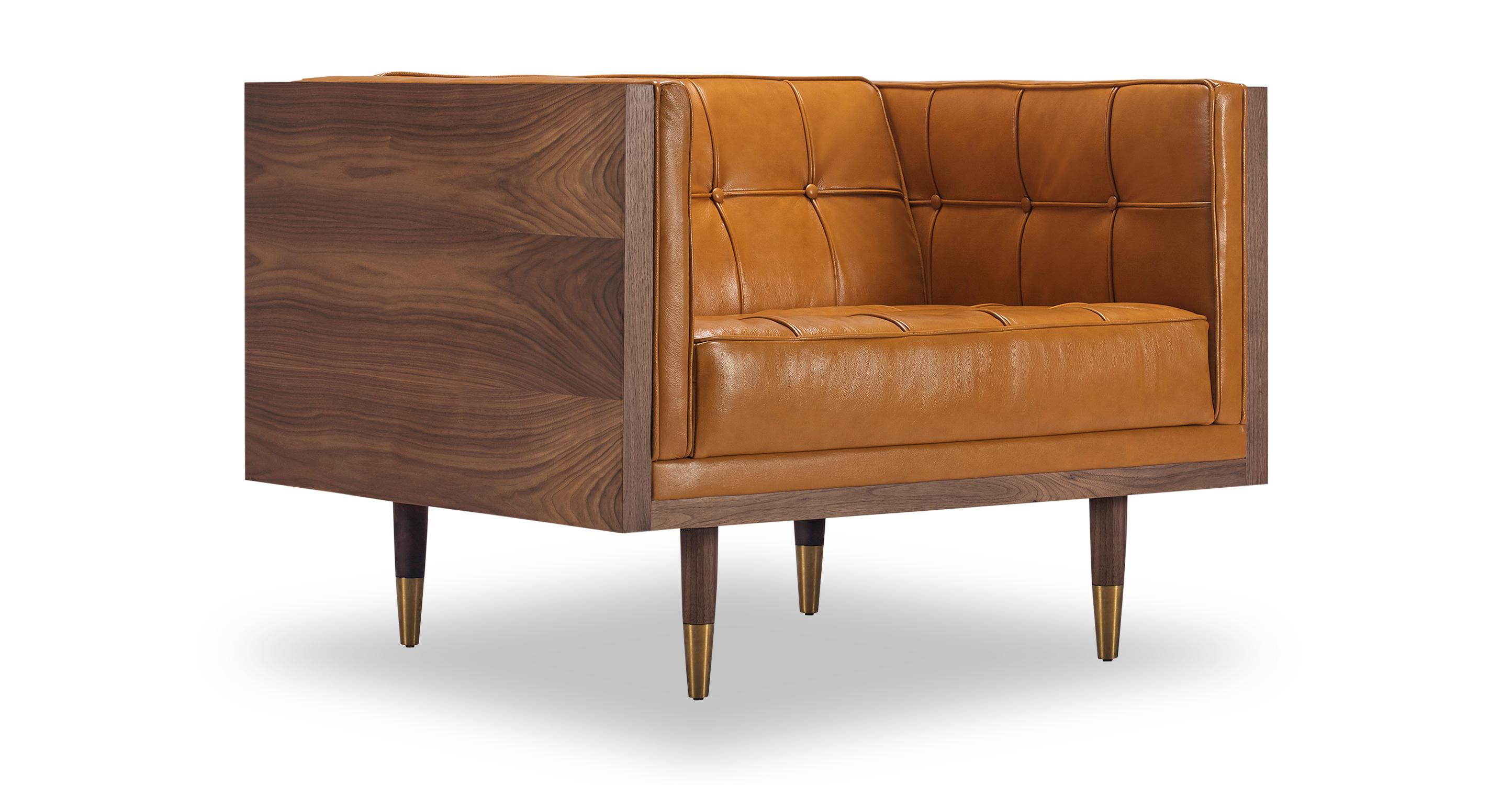 Woodrow Box Chair, Walnut/Tan Aniline