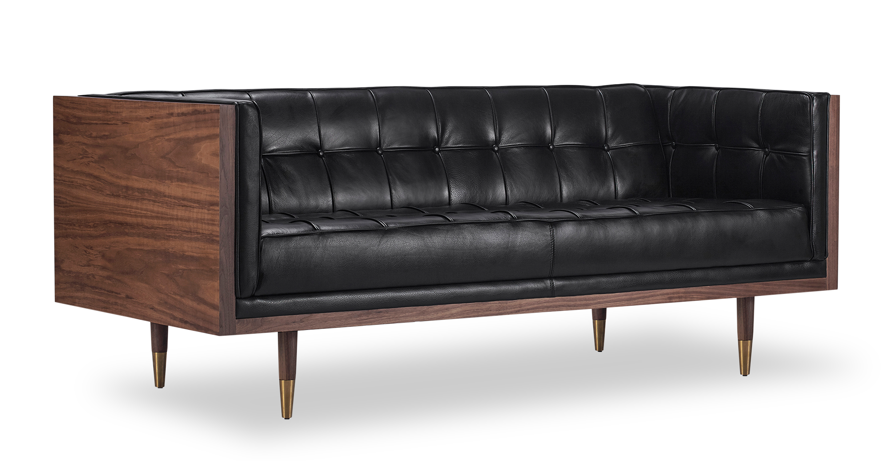 "Woodrow Box 71"" Leather Sofa, Walnut/Black Aniline"