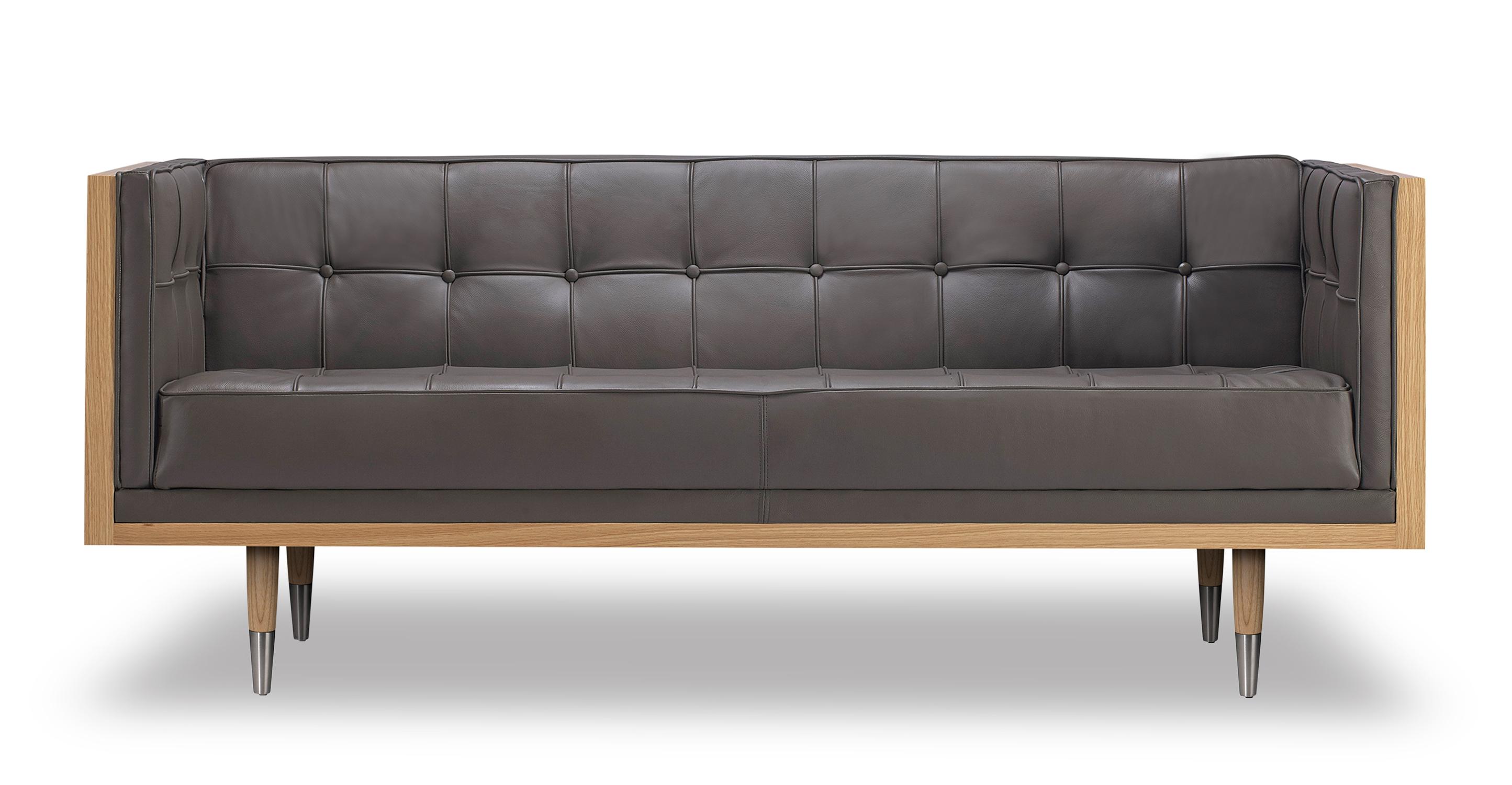 "Woodrow Box 71"" Leather Sofa, Ash/Grey Aniline"