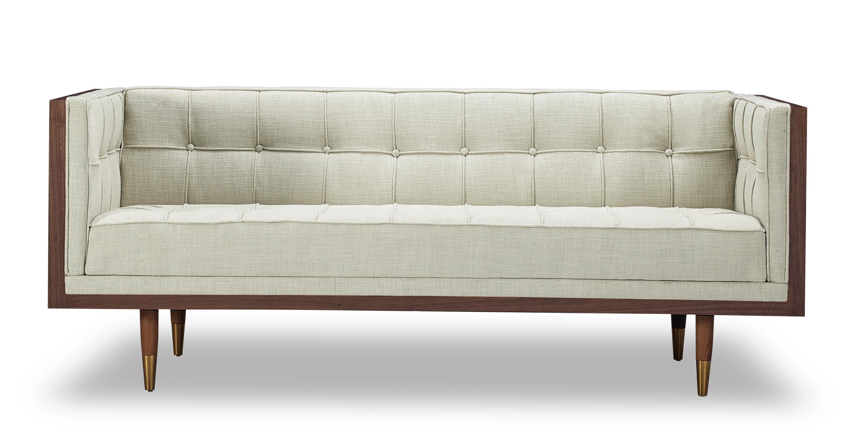 "Woodrow Box 71"" Fabric Sofa, Walnut/Urban Hemp"