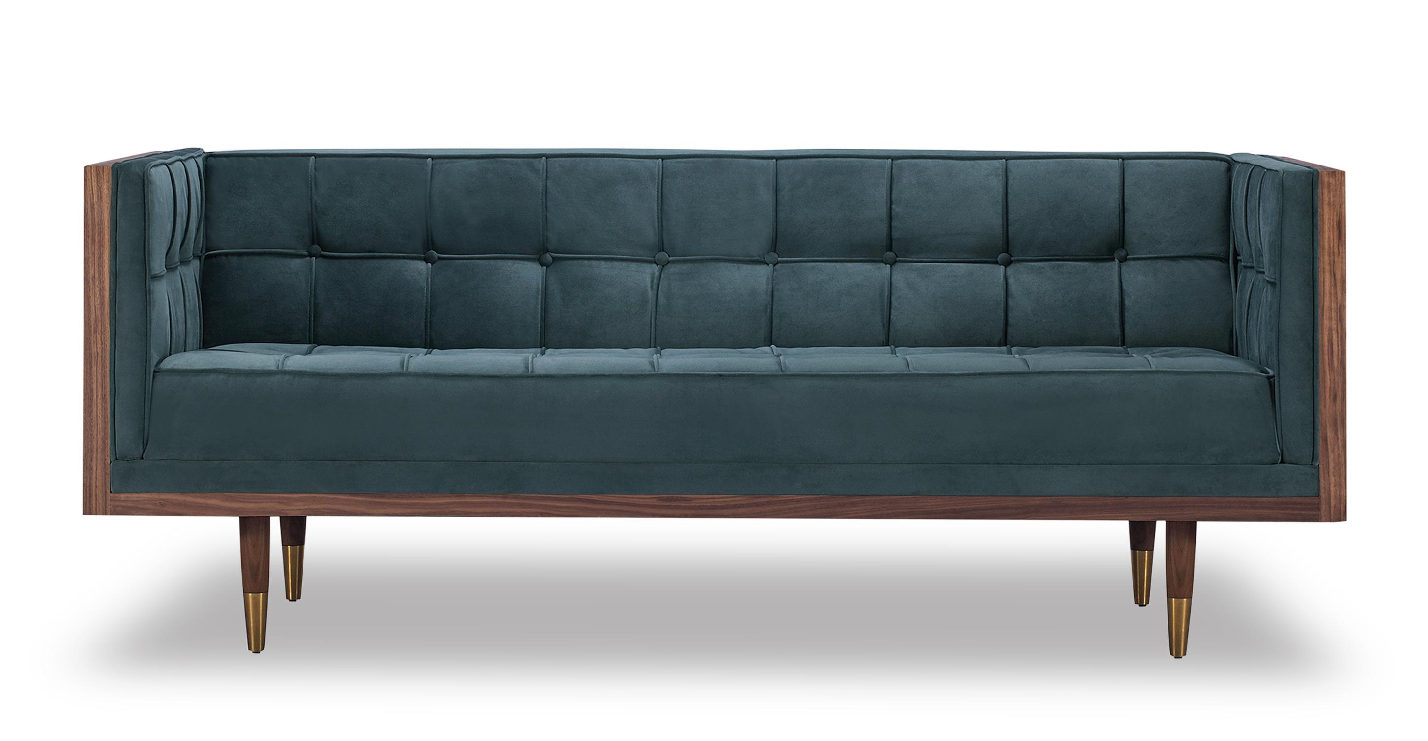 "Woodrow Box 71"" Fabric Sofa, Walnut/Neptune Velvet"
