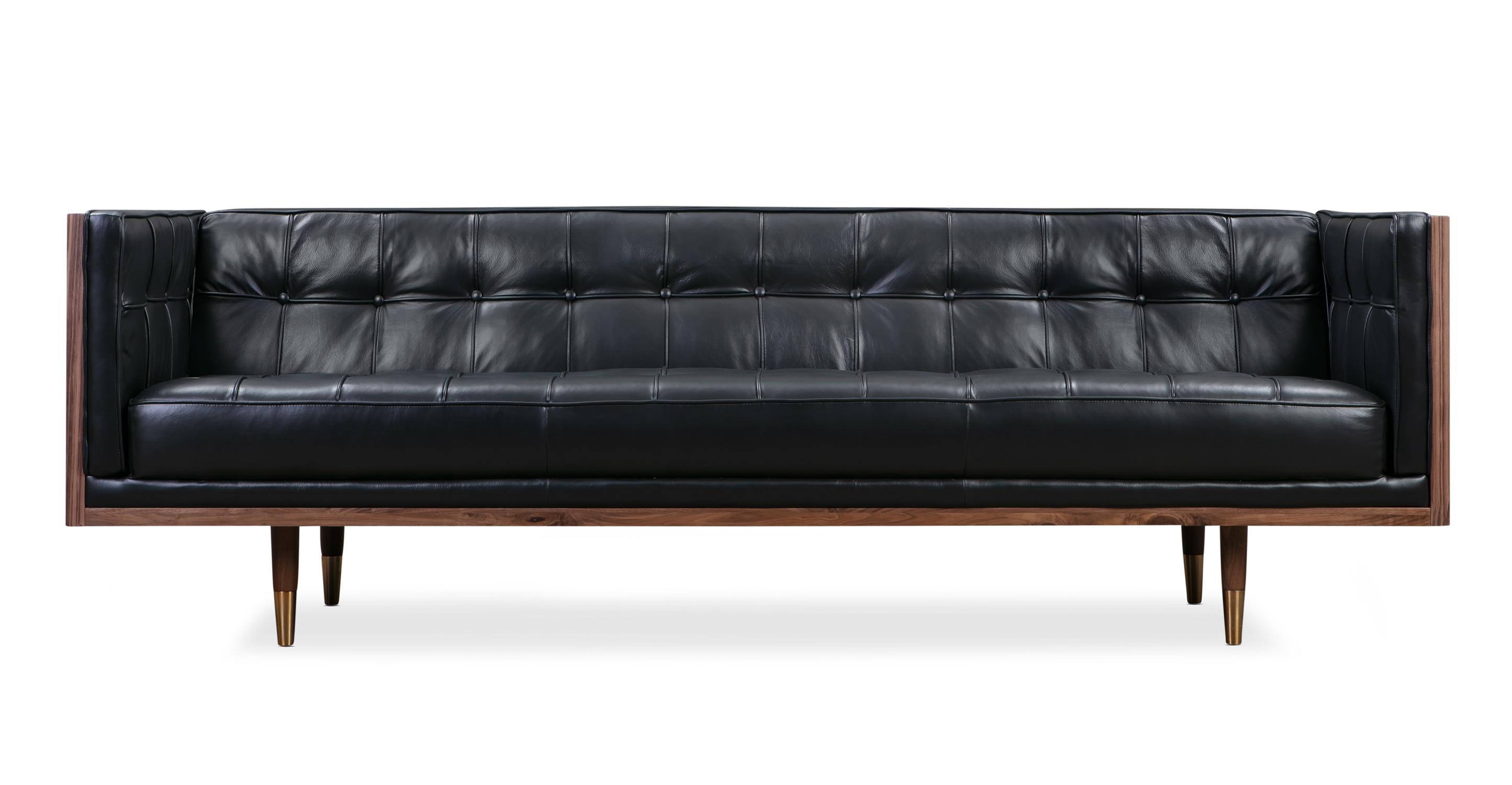 "Woodrow Box 87"" Leather Sofa, Walnut/Black Aniline"