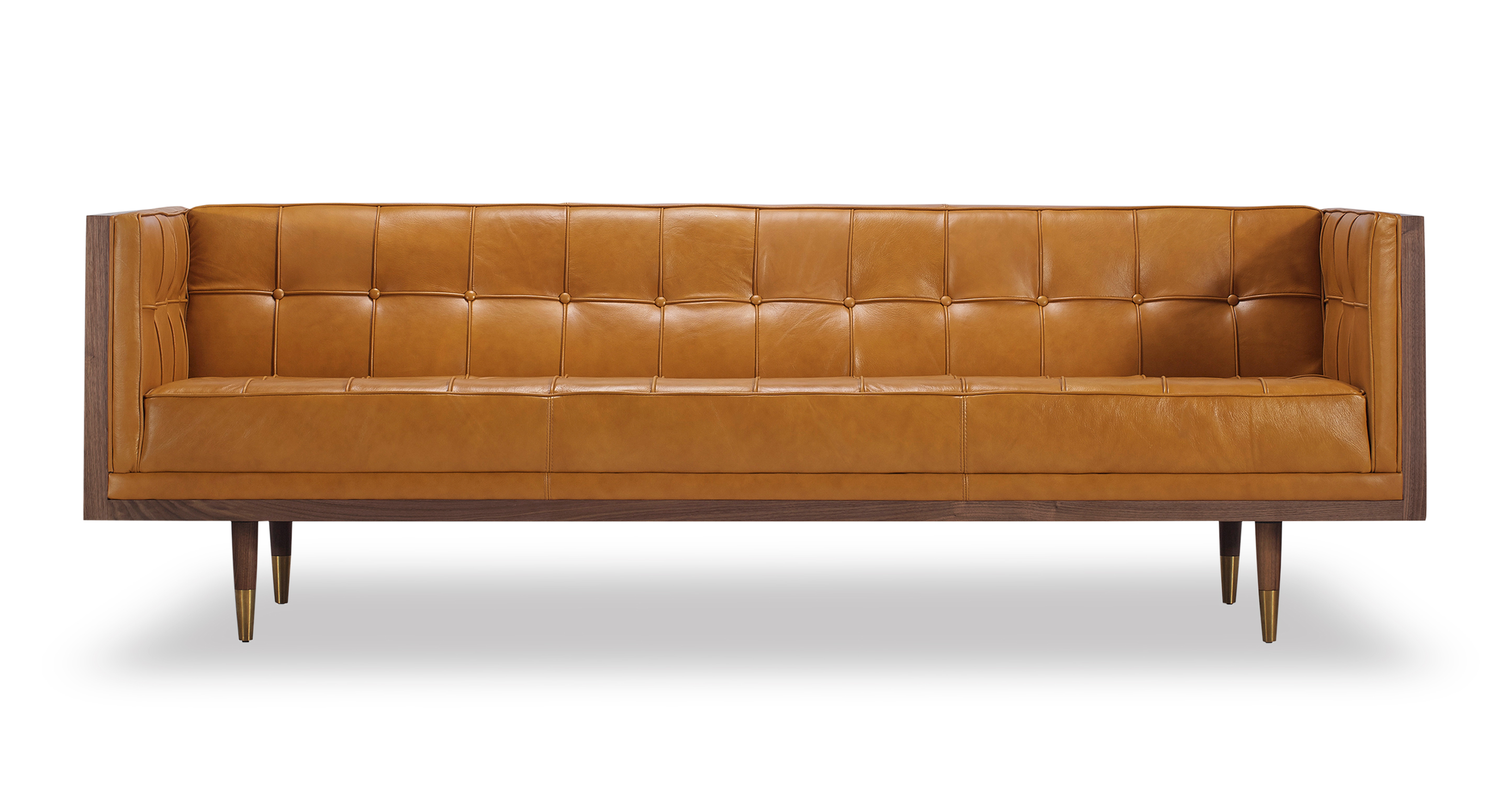 """Woodrow Box 87"""" Leather Sofa, Walnut/Tan Aniline"""