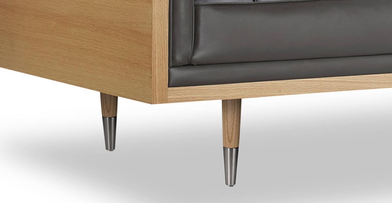 "Woodrow Box 87"" Leather Sofa, Ash/Grey Aniline"