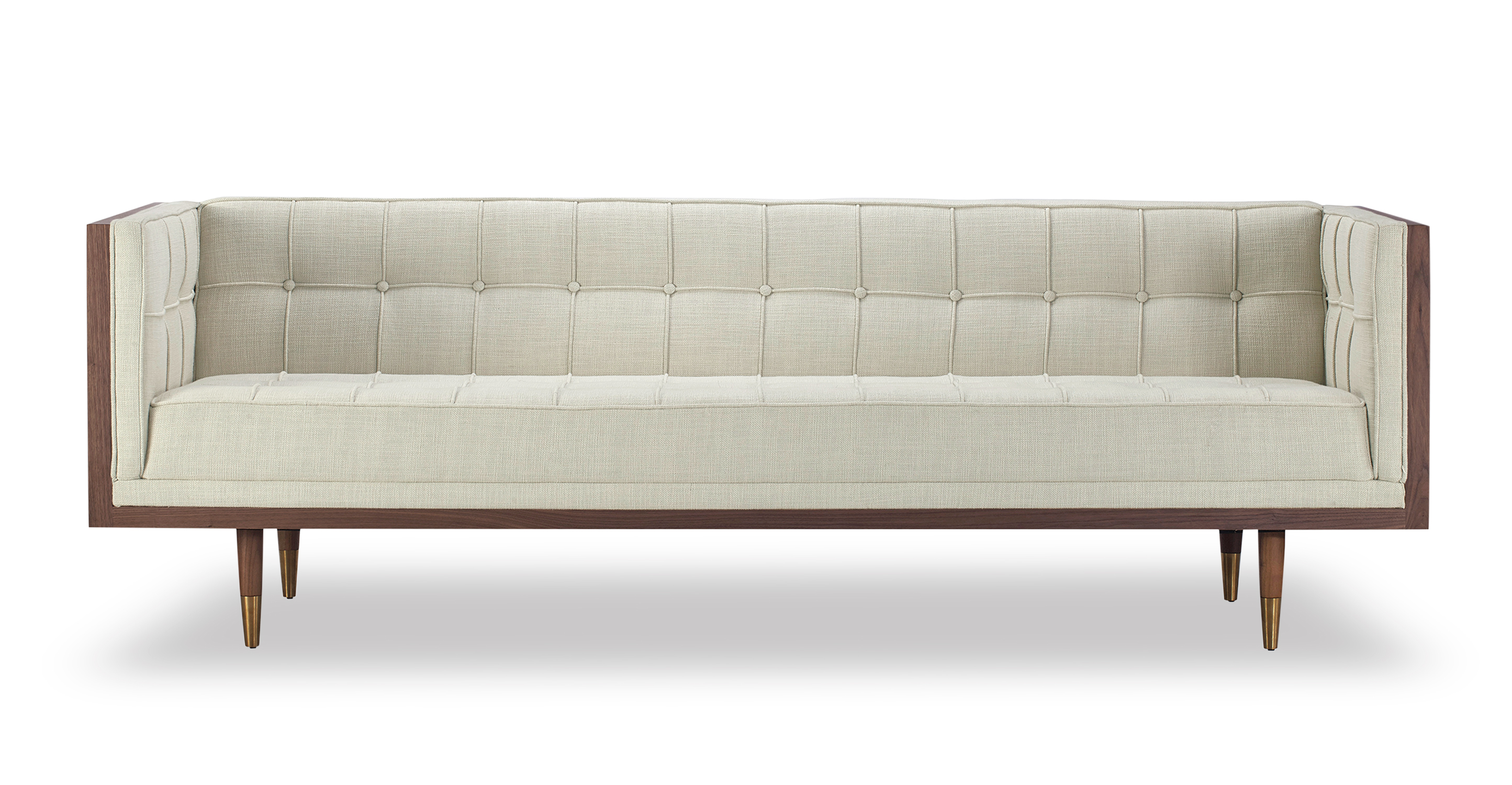 "Woodrow Box 87"" Fabric Sofa, Walnut/Urban Hemp"