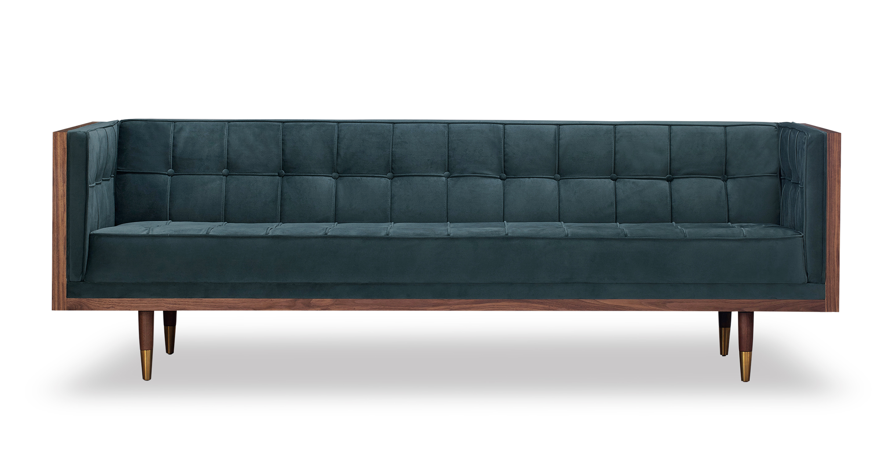 "Woodrow Box 87"" Fabric Sofa, Walnut/Neptune Velvet"