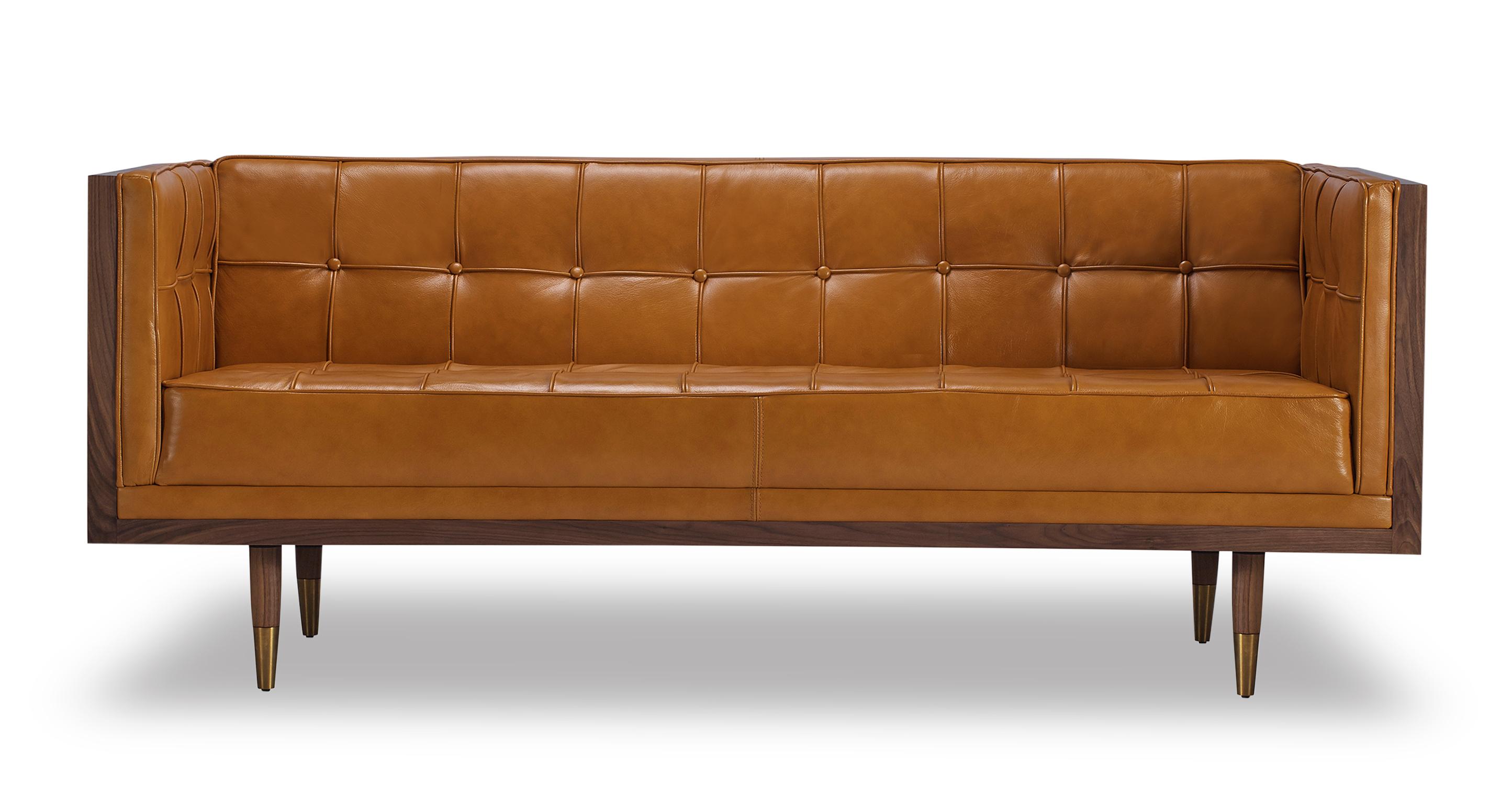 """Woodrow Box 71"""" Leather Sofa, Walnut/Tan Aniline"""