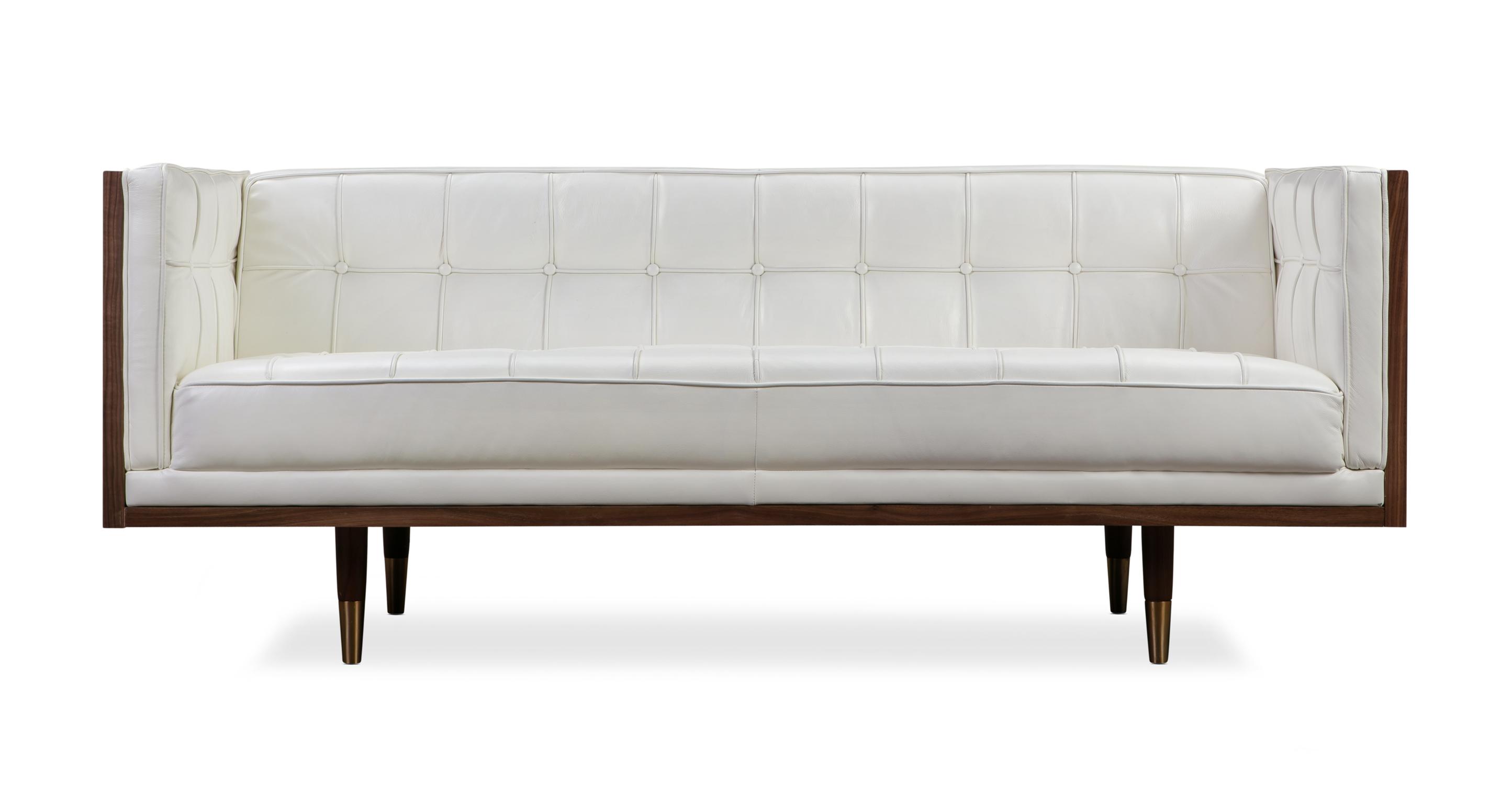 """Woodrow Box 71"""" Leather Sofa, Walnut/White Aniline"""