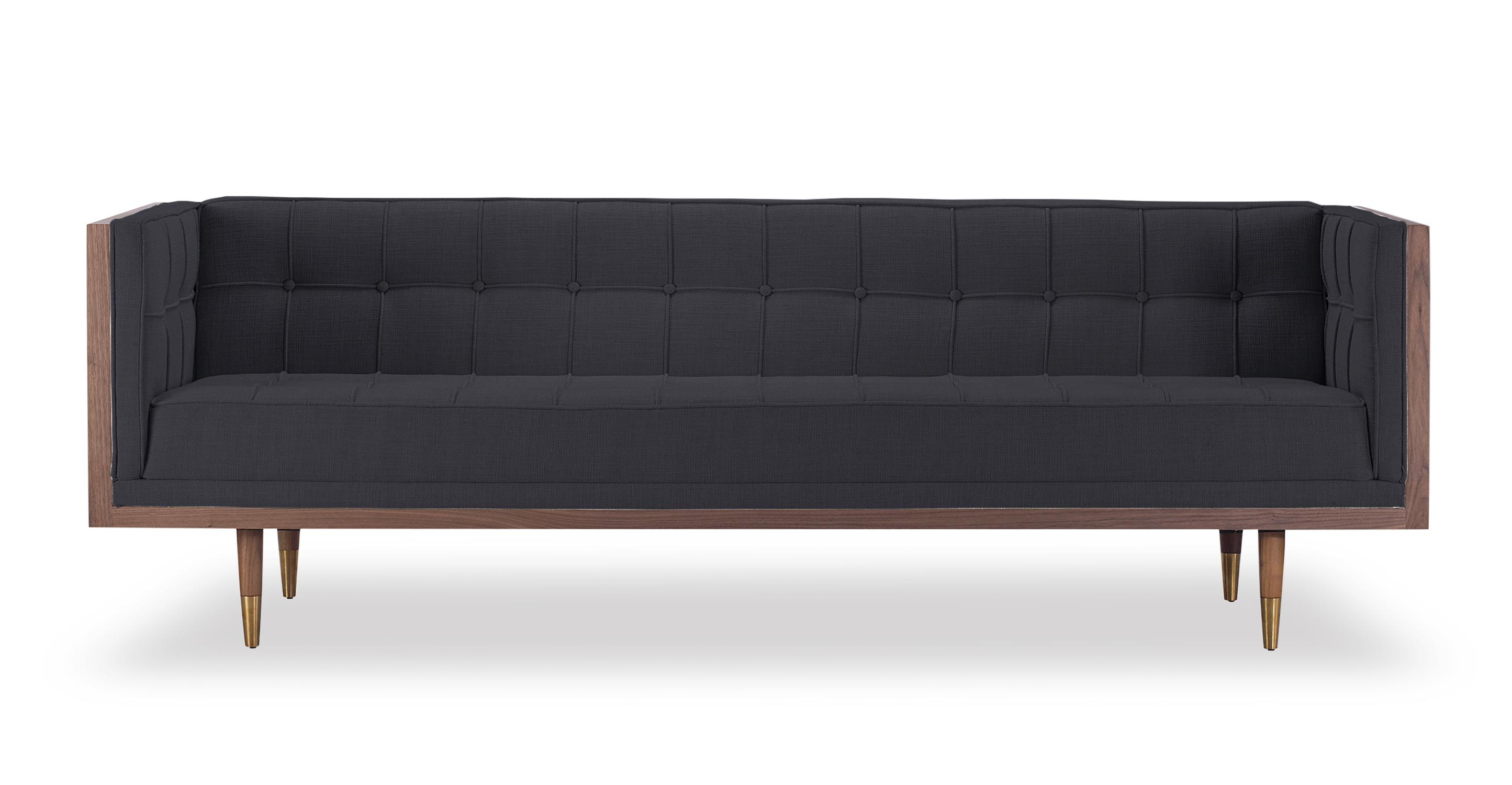 "Woodrow Box 87"" Fabric Sofa, Walnut/Urban Ink"