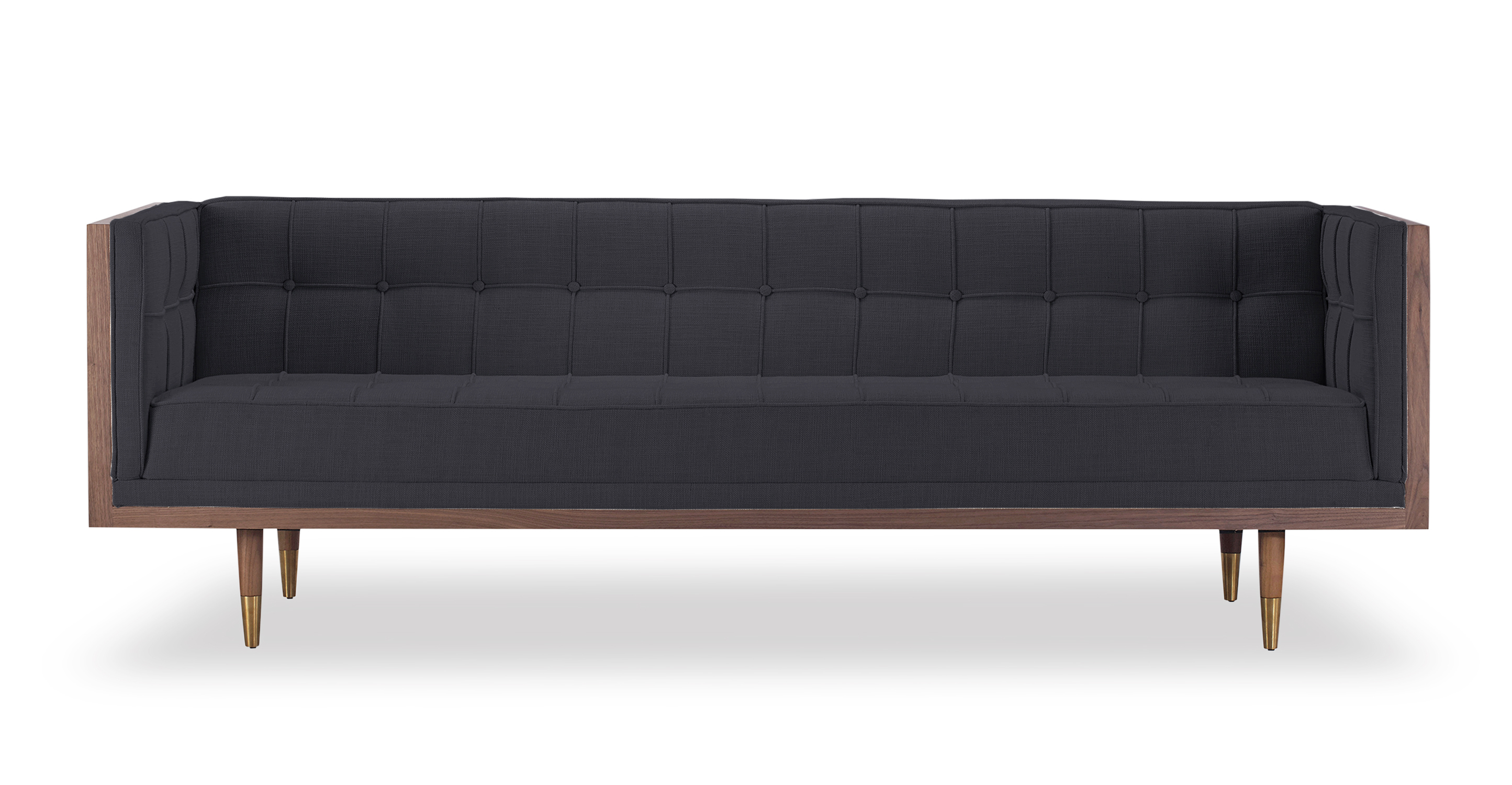 "Woodrow Box 87"" Fabric Sofa, Walnut/Urban Ink"