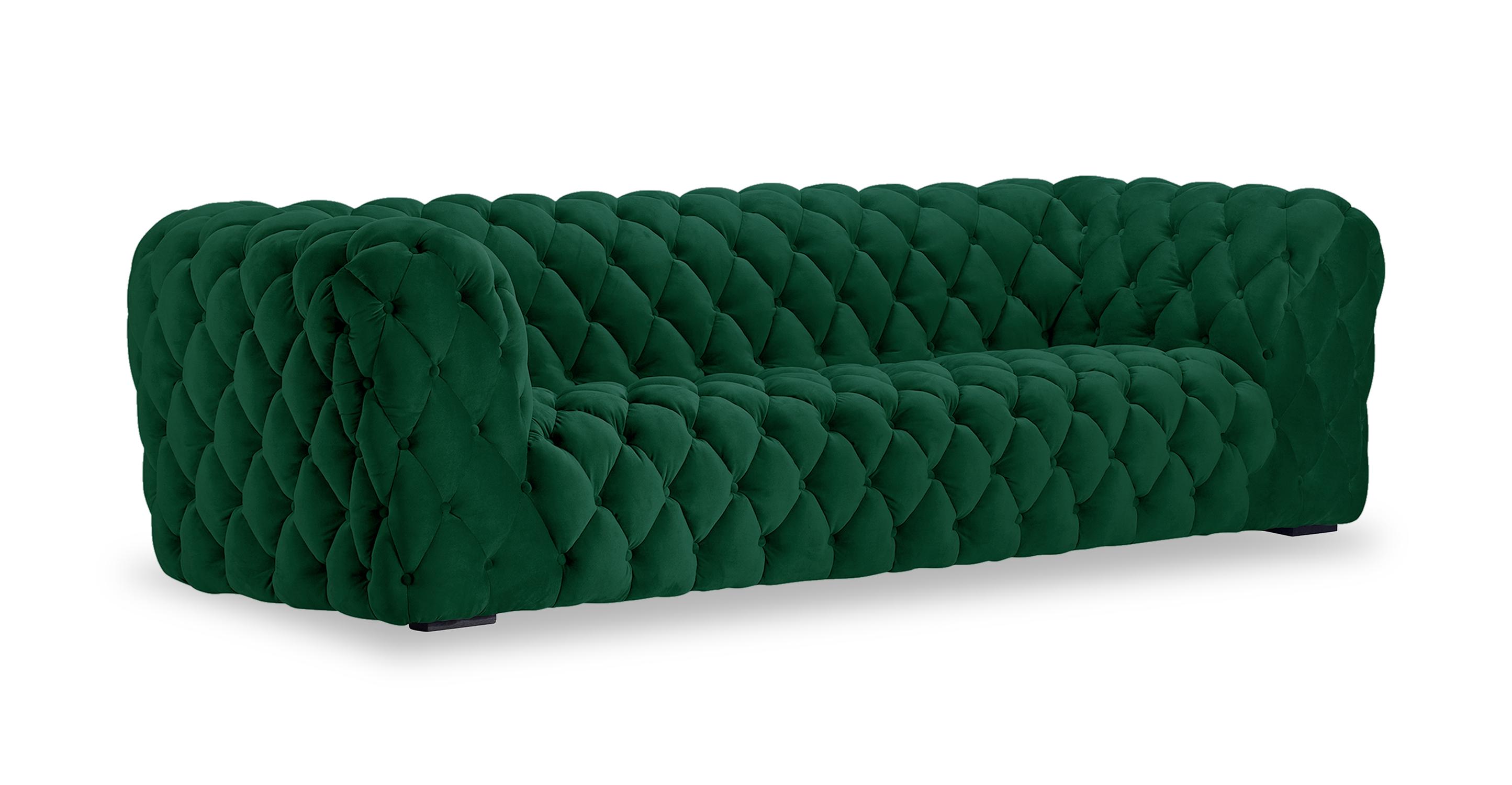 """Cumulus 98"""" Fabric Sofa, Jade Velvet"""