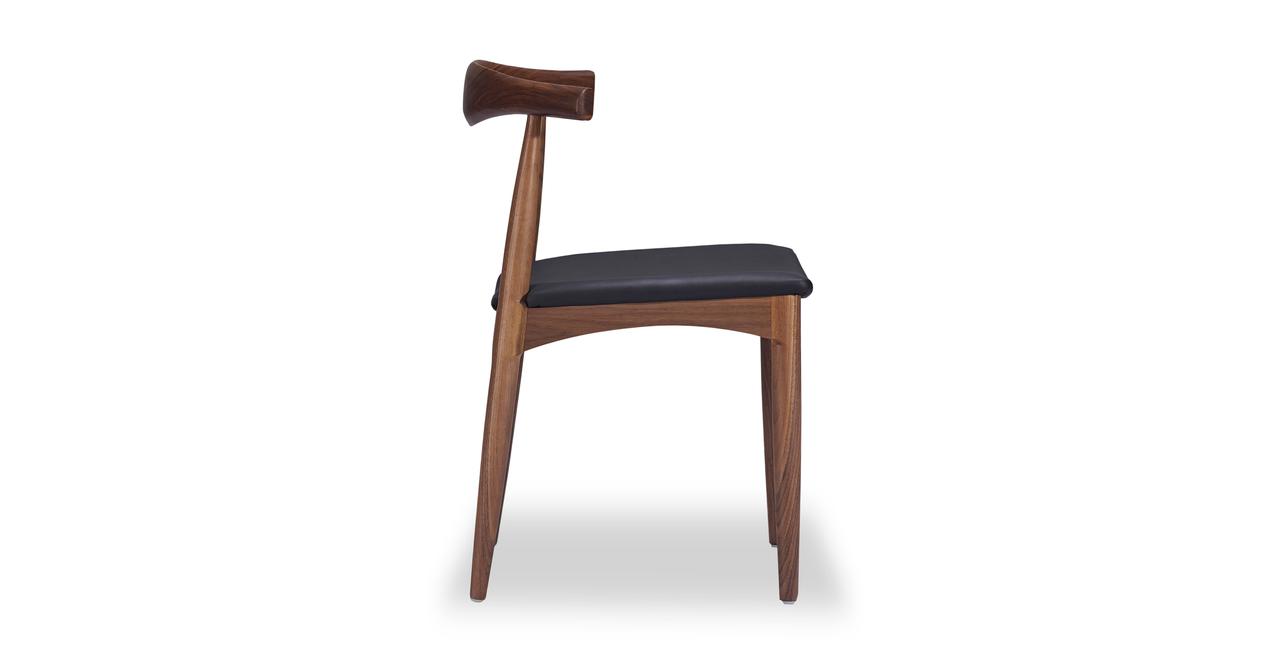 Wegner Elbow Chair, Black Leather/Walnut