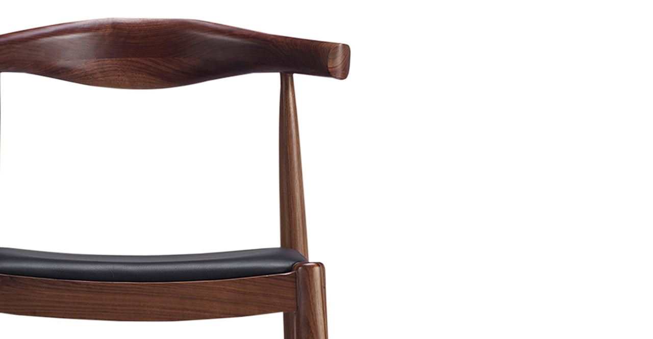 Wegner Elbow Barstool, Black Leather/Walnut