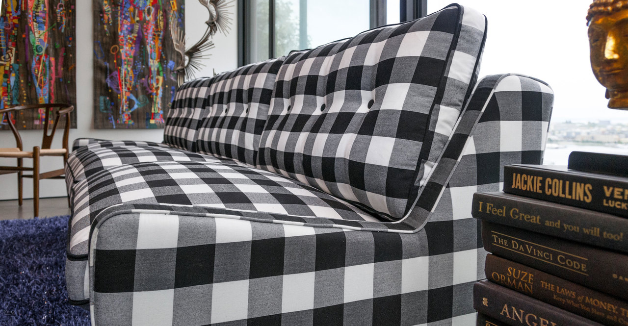 "Elektra 93"" Fabric Sofa, Windowpane Plaid"