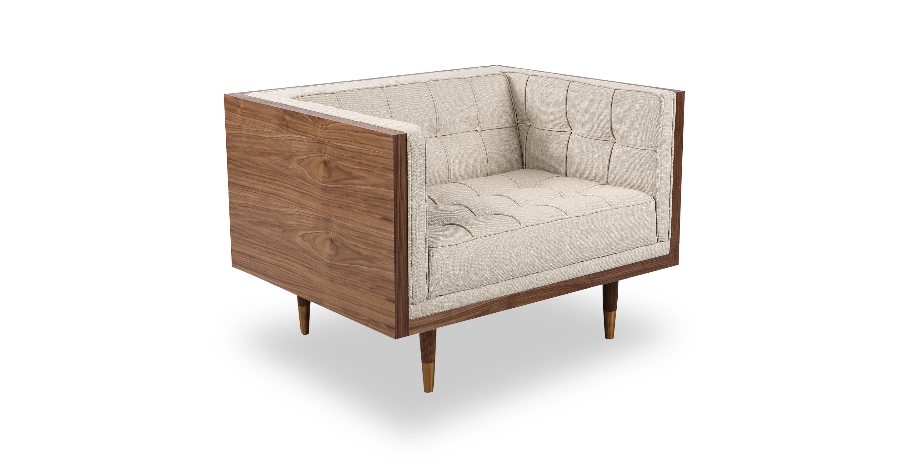 Woodrow Box Fabric Chair, Walnut/Urban Hemp
