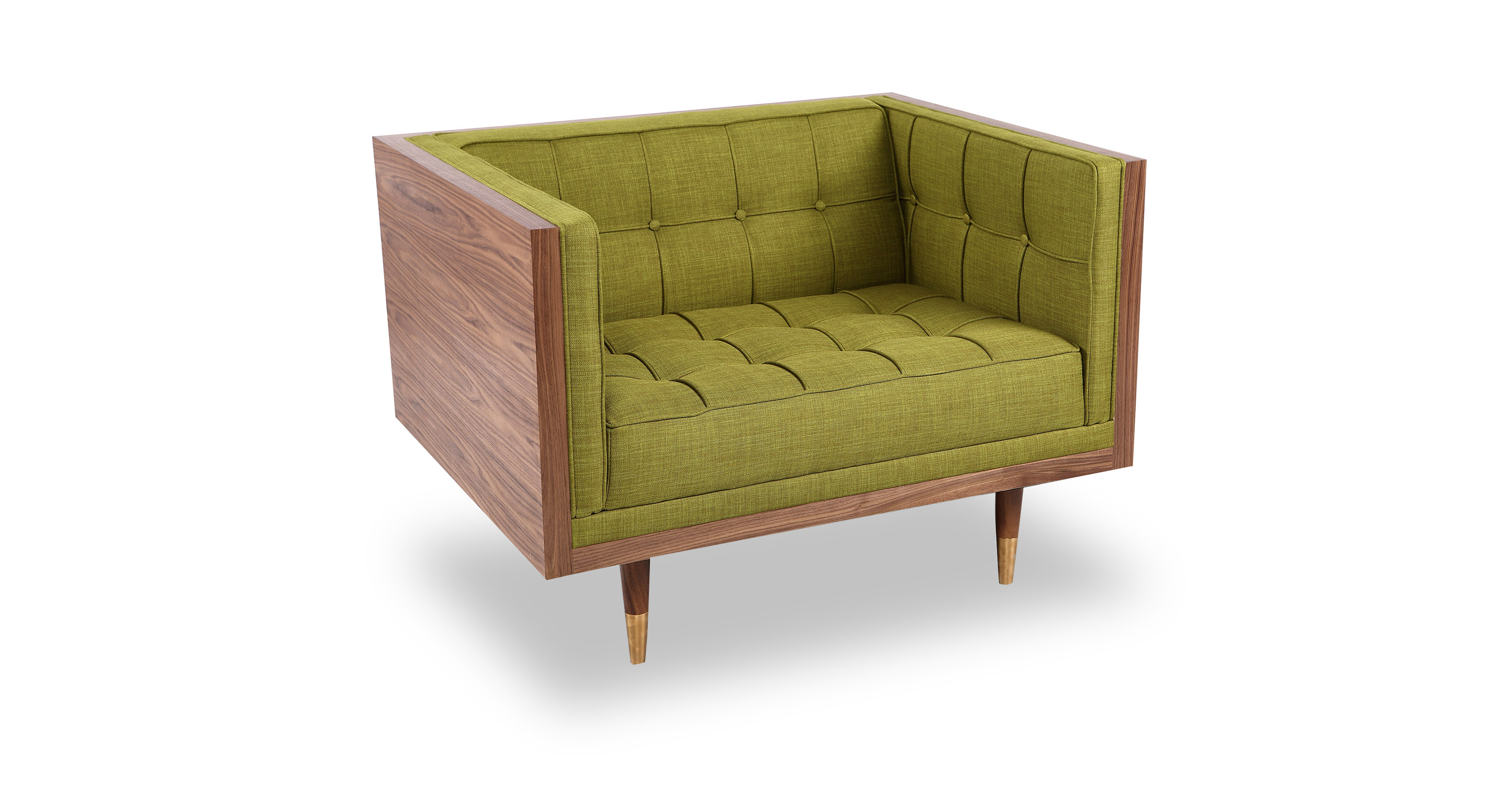 Woodrow Box Fabric Chair, Walnut/Atomic Moss