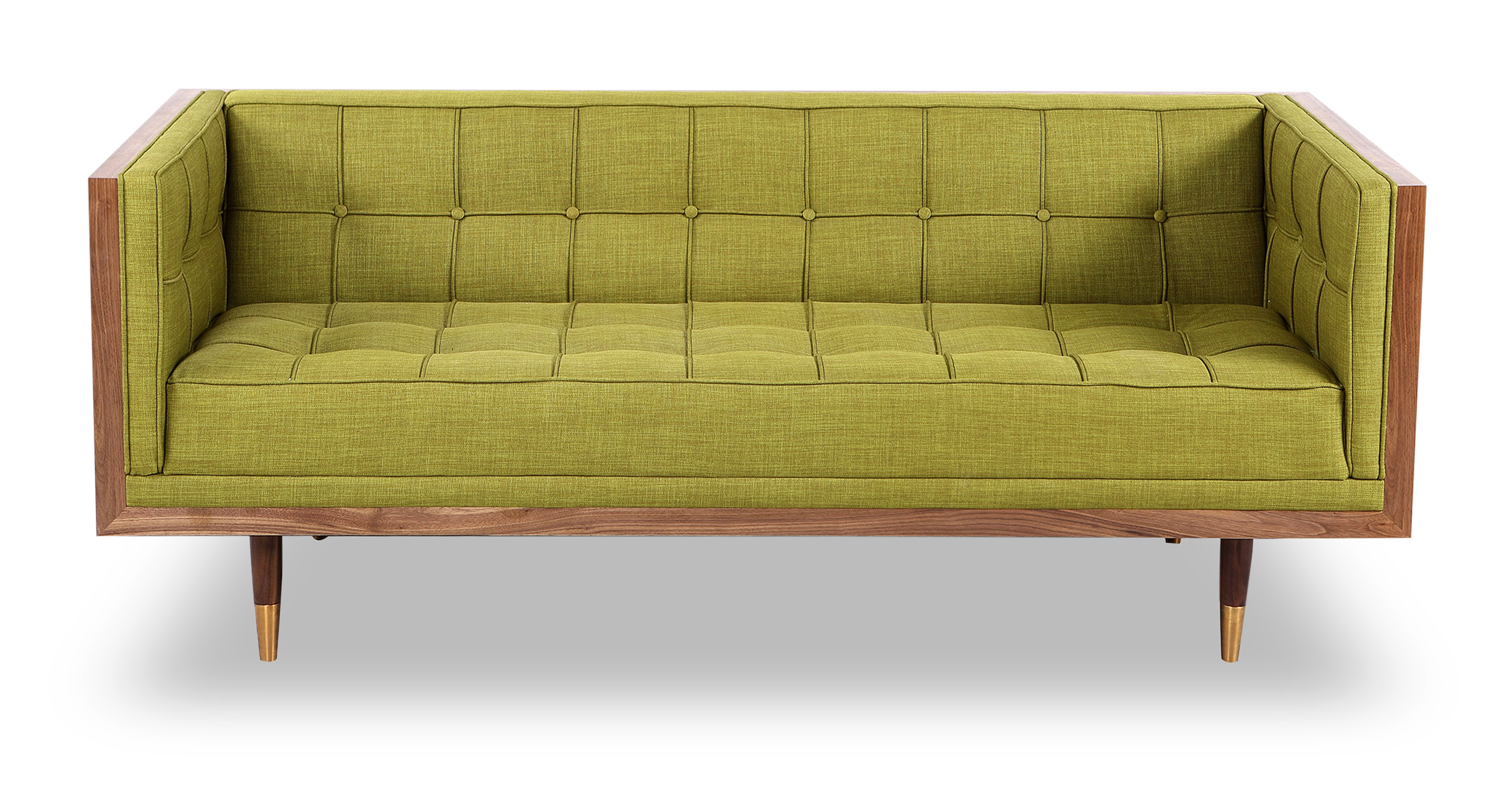"Woodrow Box 71"" Fabric Sofa, Walnut/Atomic Moss"